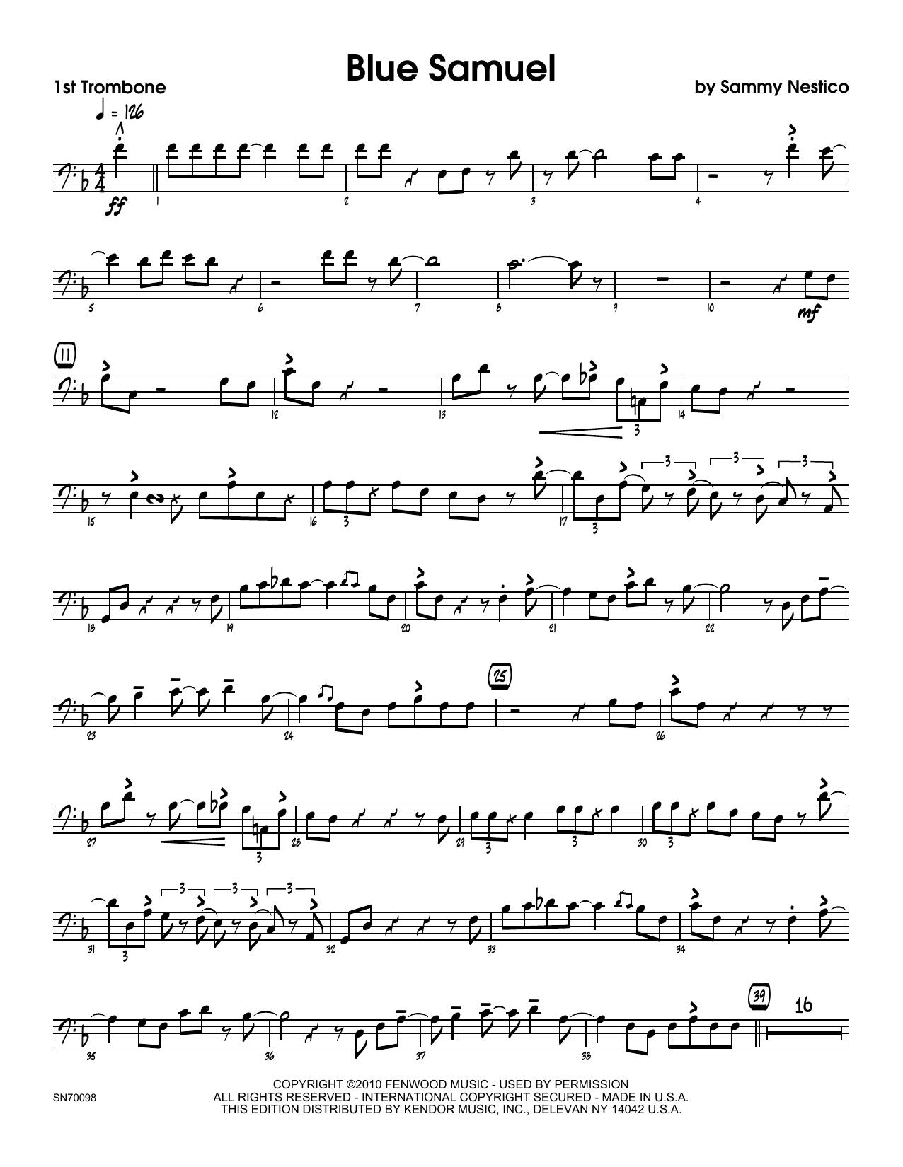 Blue Samuel - 1st Trombone Sheet Music