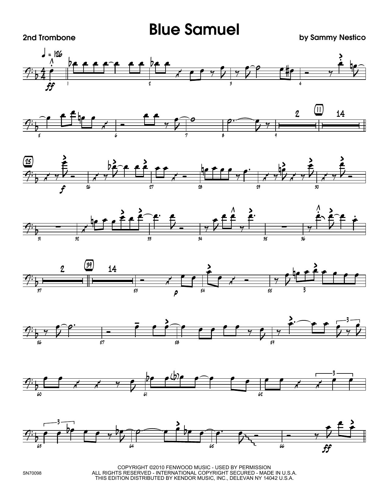 Blue Samuel - 2nd Trombone Sheet Music