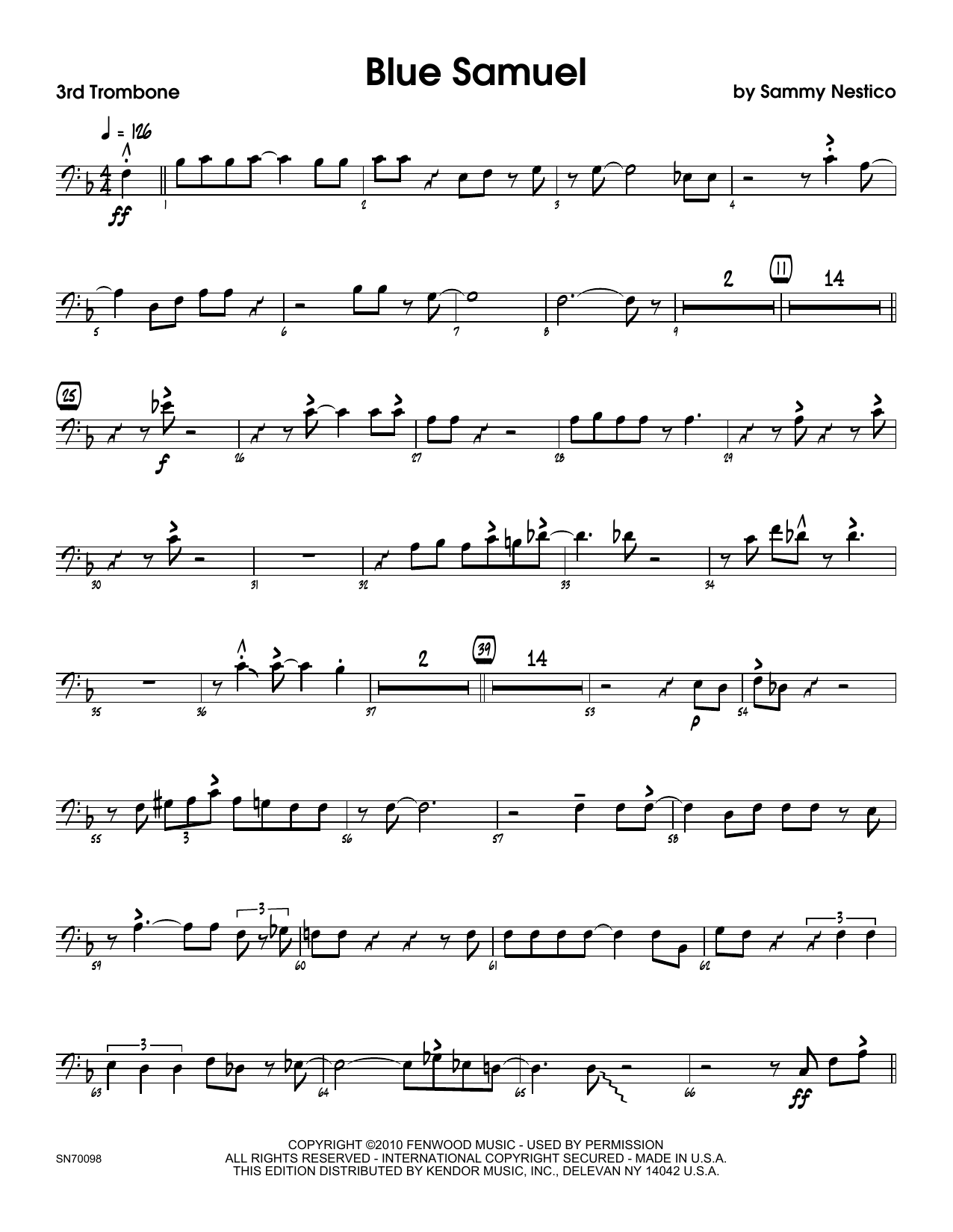 Blue Samuel - 3rd Trombone Sheet Music