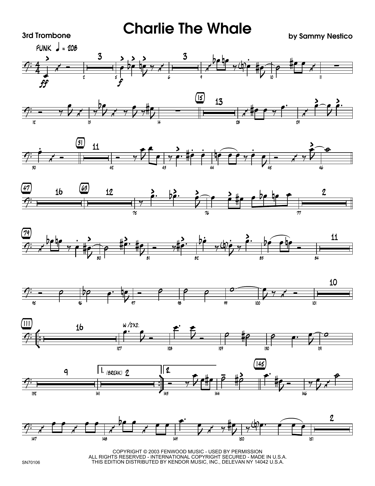Charlie The Whale - 3rd Trombone Sheet Music
