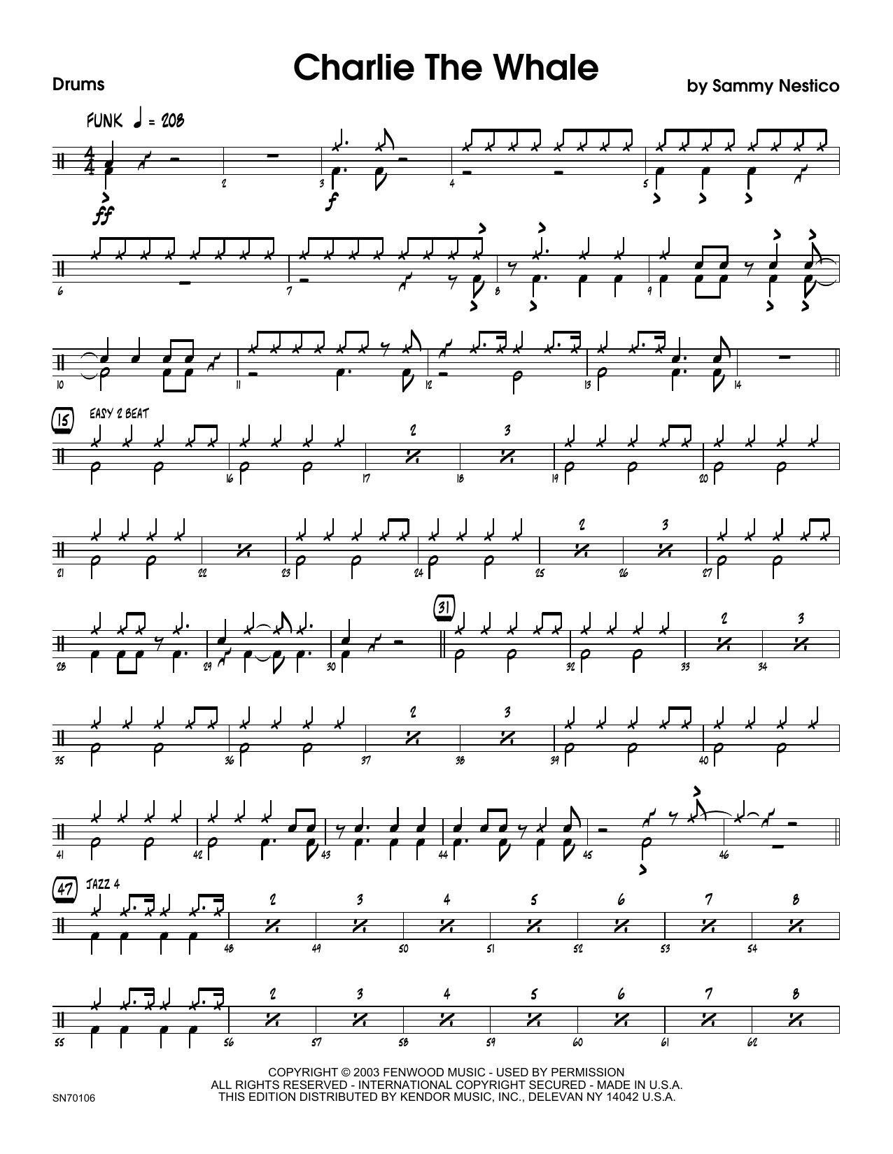 Charlie The Whale - Drum Set Sheet Music