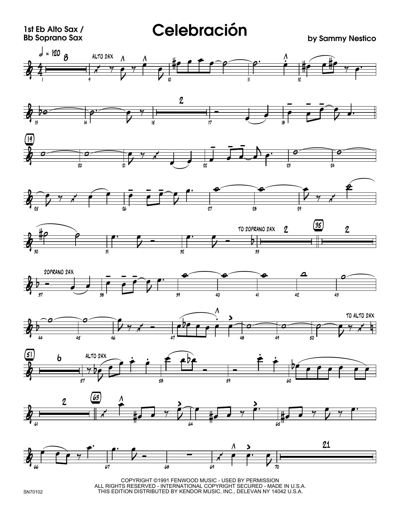 Celebracion - Alto Sax 1/Soprano Sax Sheet Music
