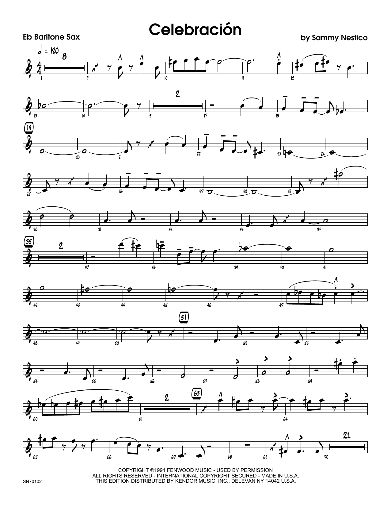 Celebracion - Eb Baritone Saxophone Sheet Music