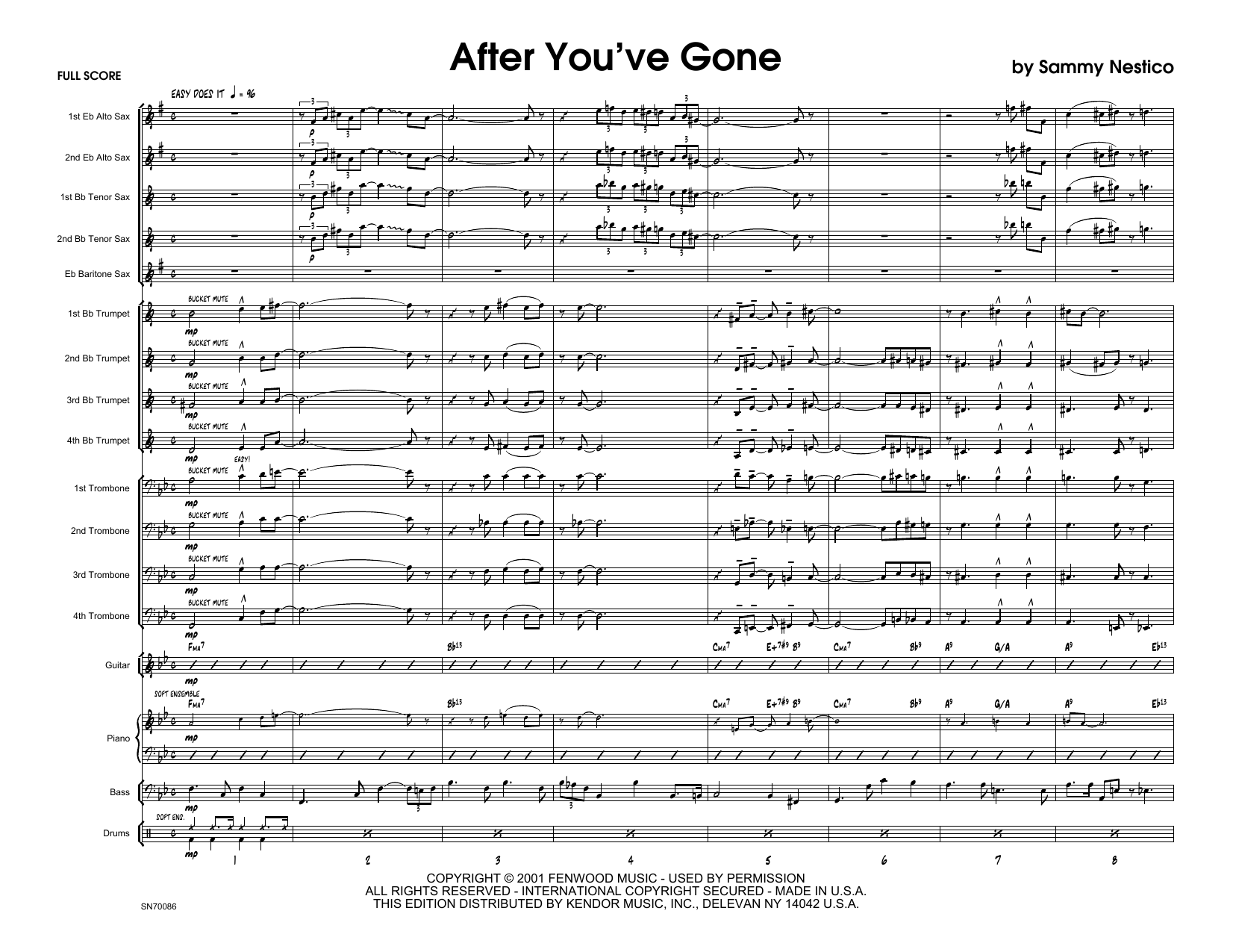 After You've Gone (COMPLETE) sheet music for jazz band by Sammy Nestico. Score Image Preview.