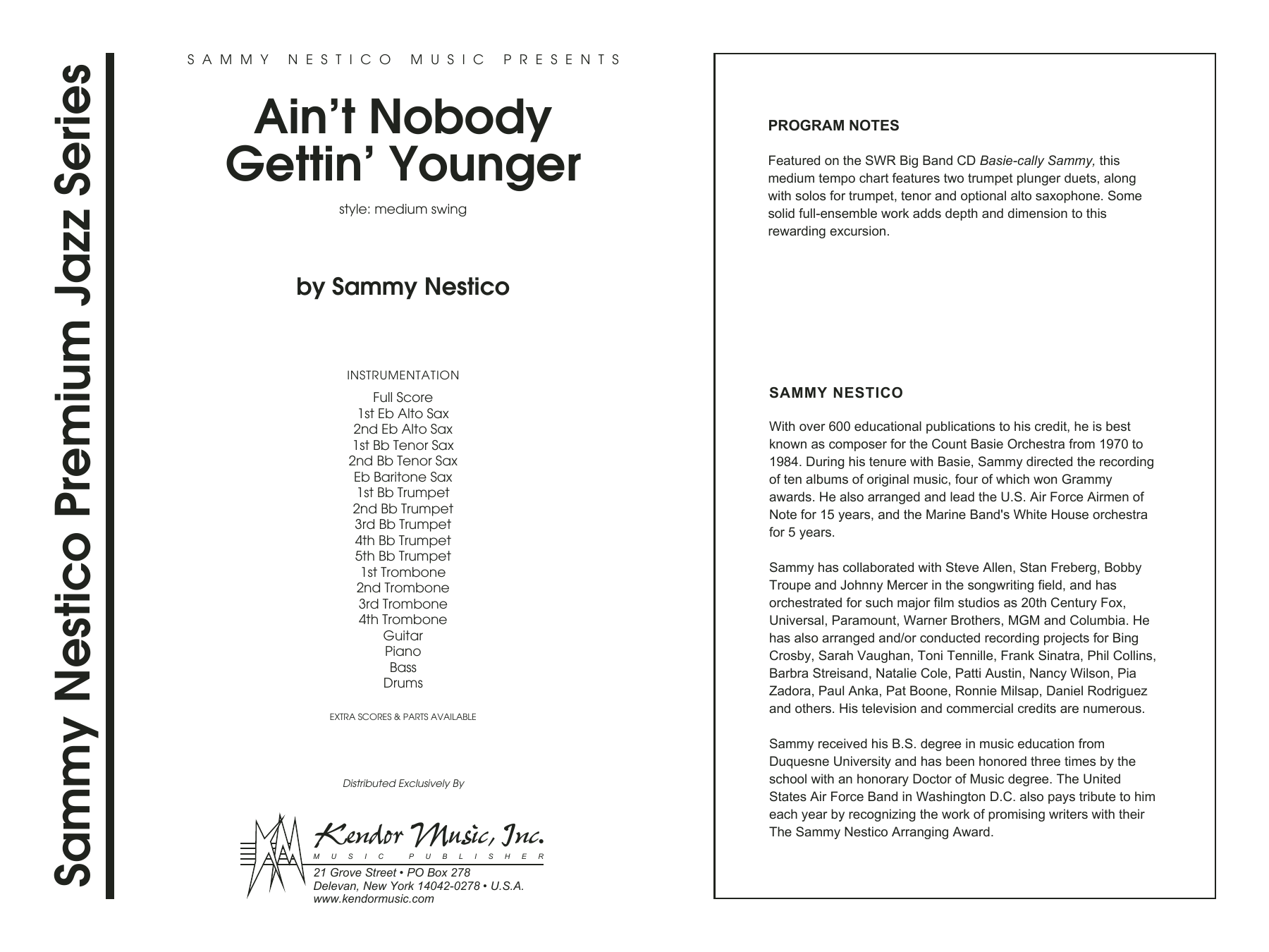 Ain't Nobody Gettin' Younger (COMPLETE) sheet music for jazz band by Sammy Nestico. Score Image Preview.