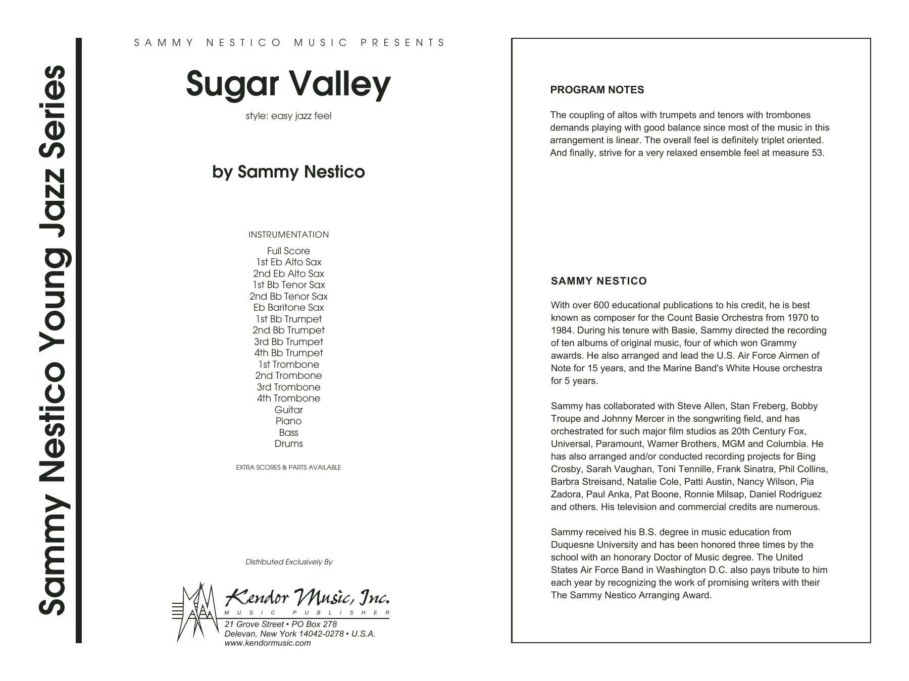 Sugar Valley (COMPLETE) sheet music for jazz band by Sammy Nestico. Score Image Preview.