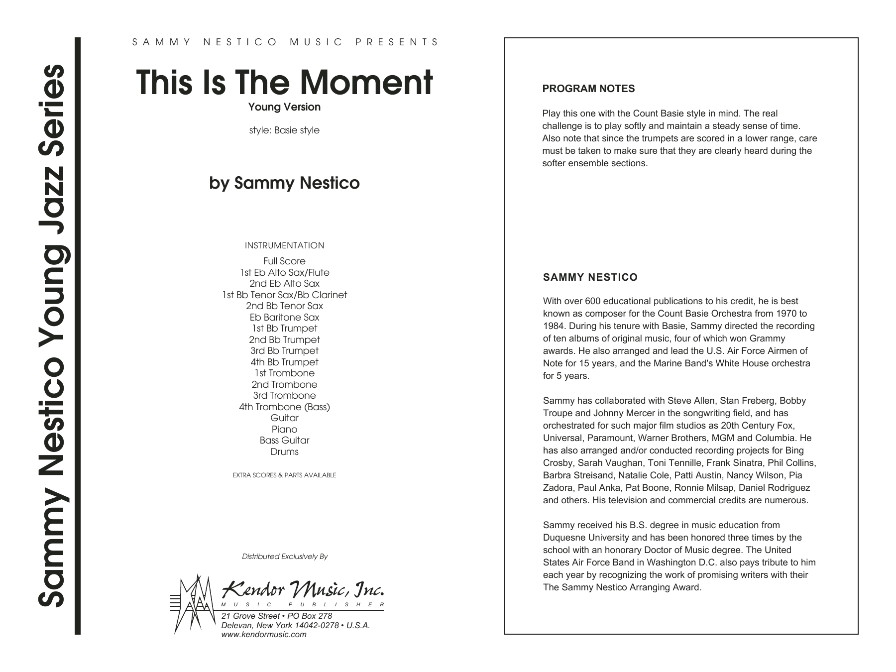 This Is The Moment (Young Version) (COMPLETE) sheet music for jazz band by Sammy Nestico. Score Image Preview.