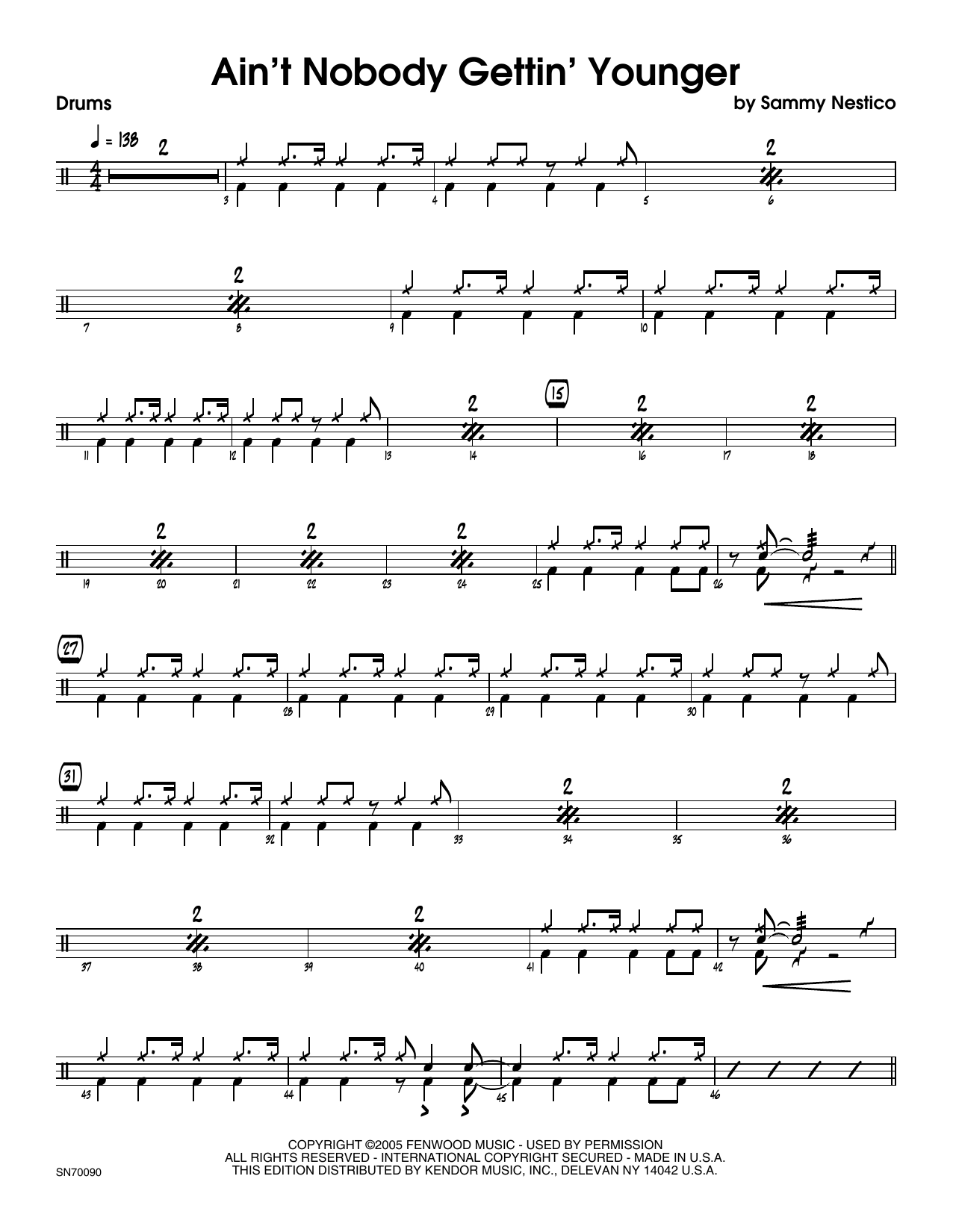 Ain't Nobody Gettin' Younger - Drum Set Sheet Music