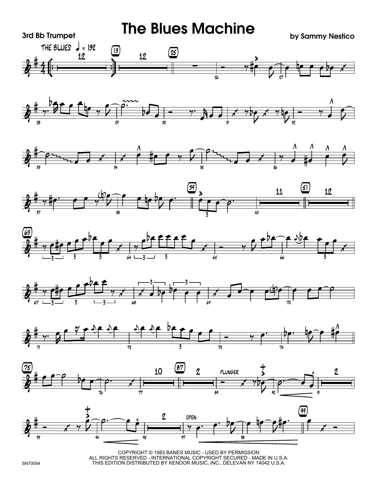The Blues Machine - 3rd Bb Trumpet Sheet Music