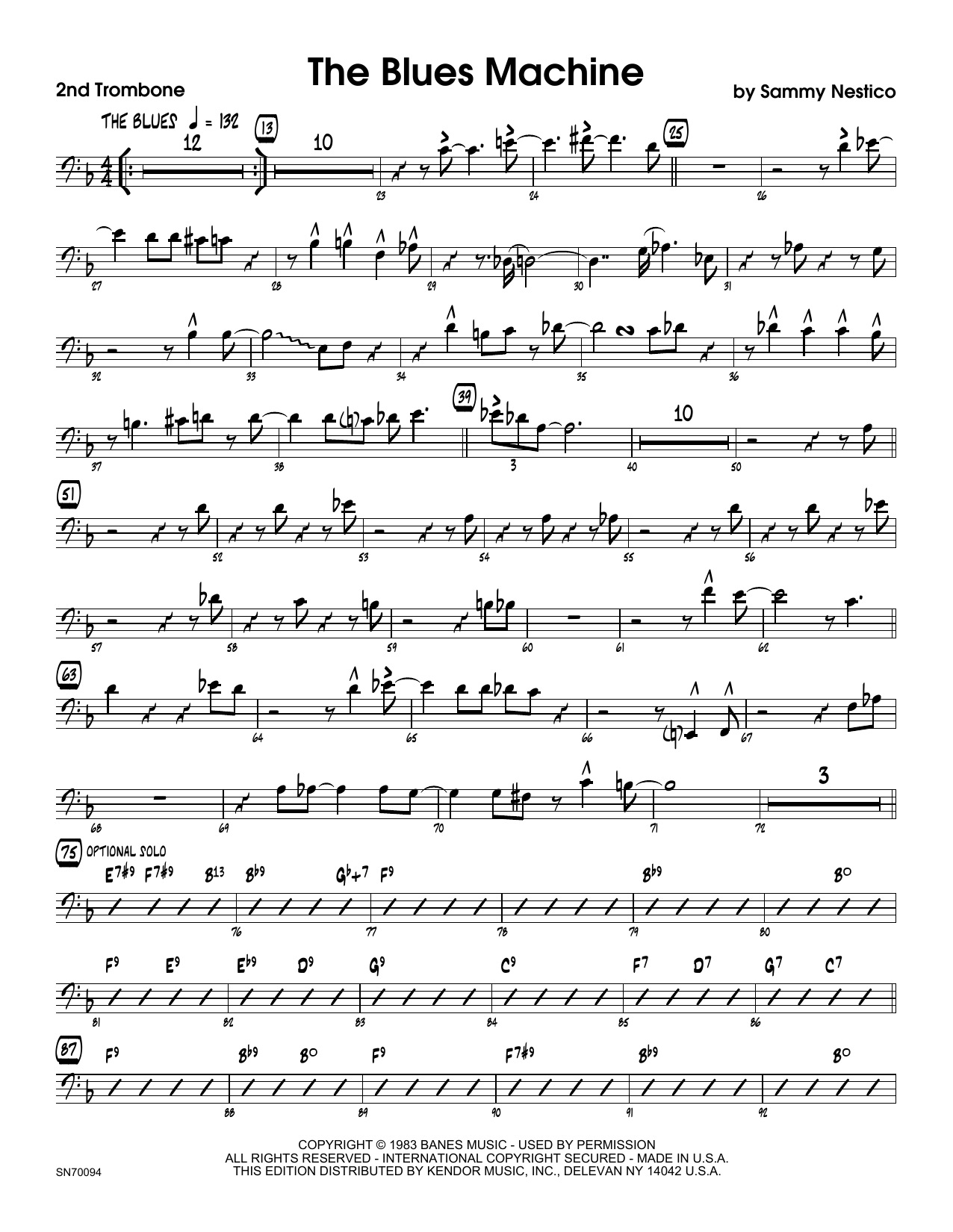 The Blues Machine - 2nd Trombone Sheet Music