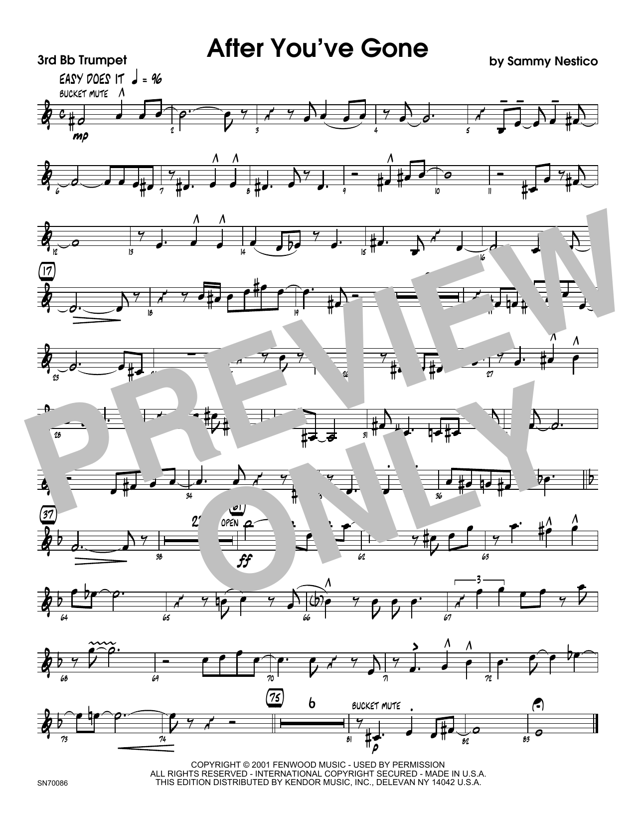 After You've Gone - 3rd Bb Trumpet Sheet Music