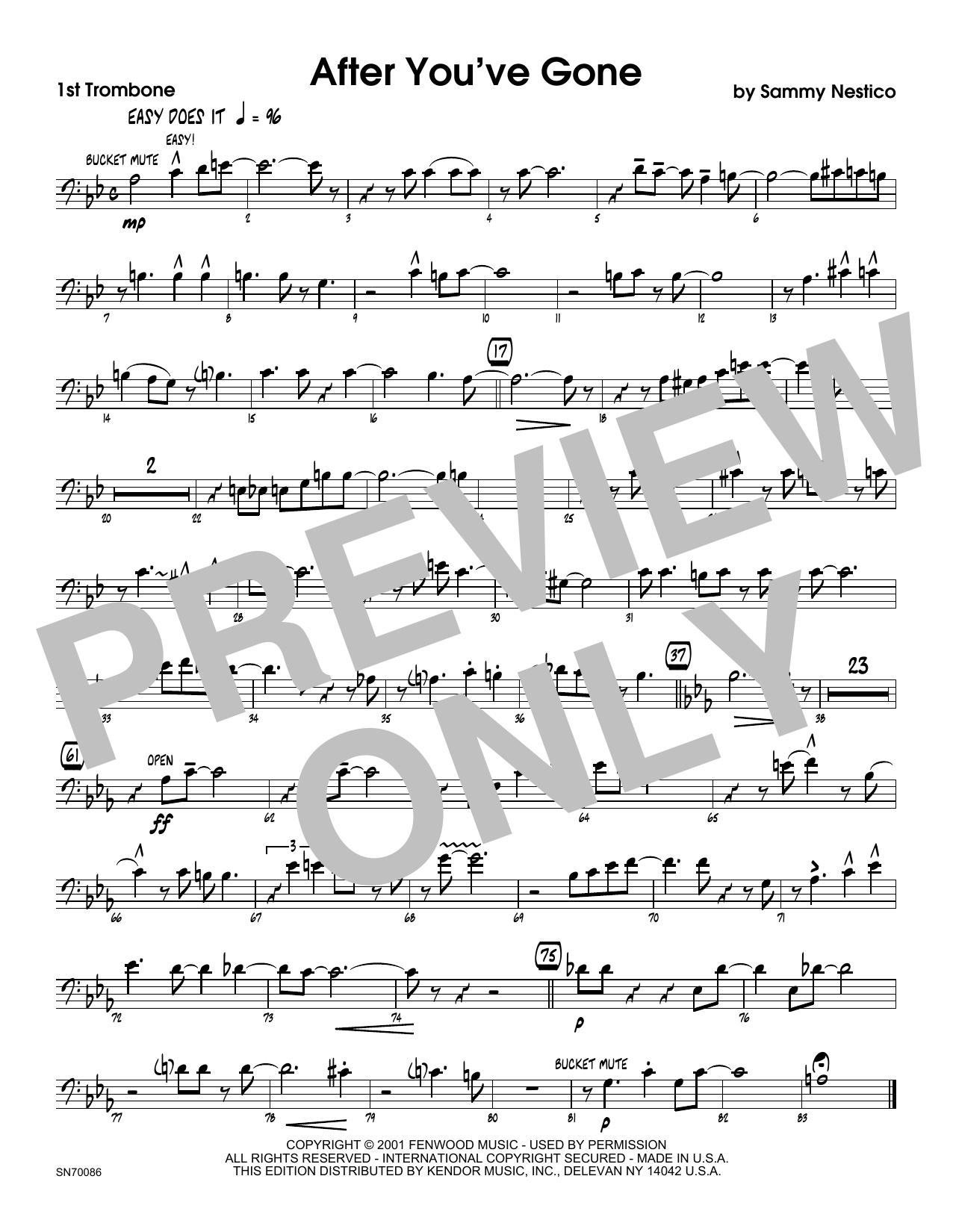 After You've Gone - 1st Trombone Sheet Music