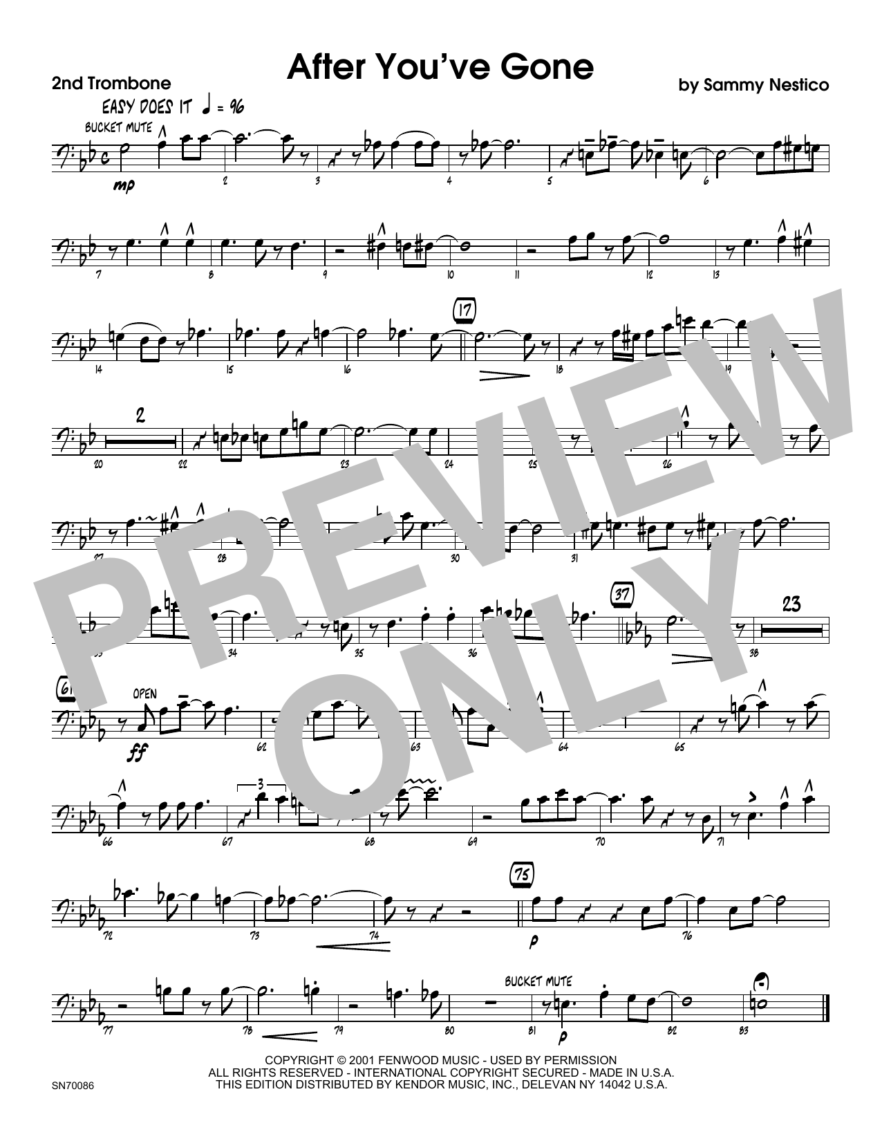 After You've Gone - 2nd Trombone Sheet Music