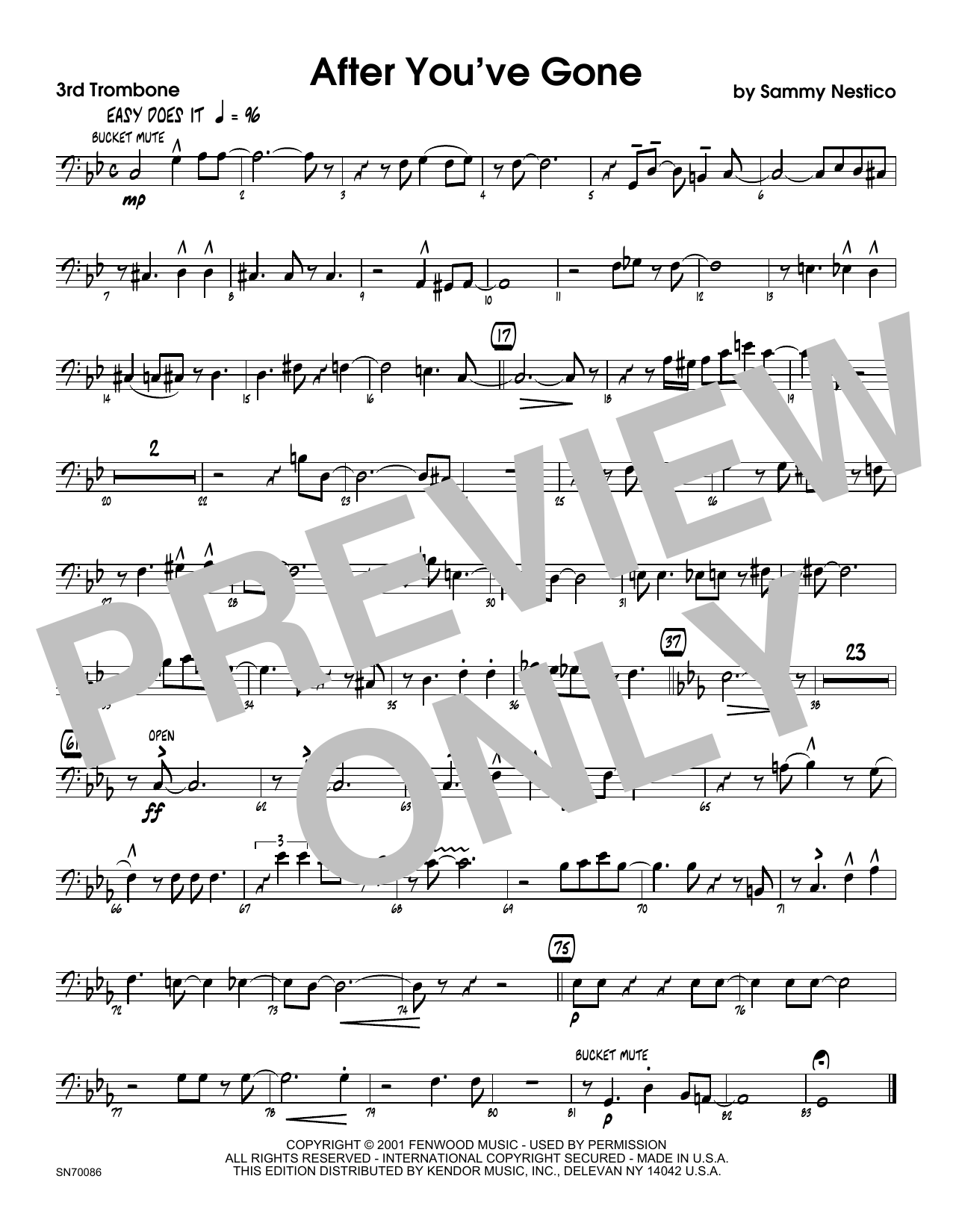 After You've Gone - 3rd Trombone Sheet Music