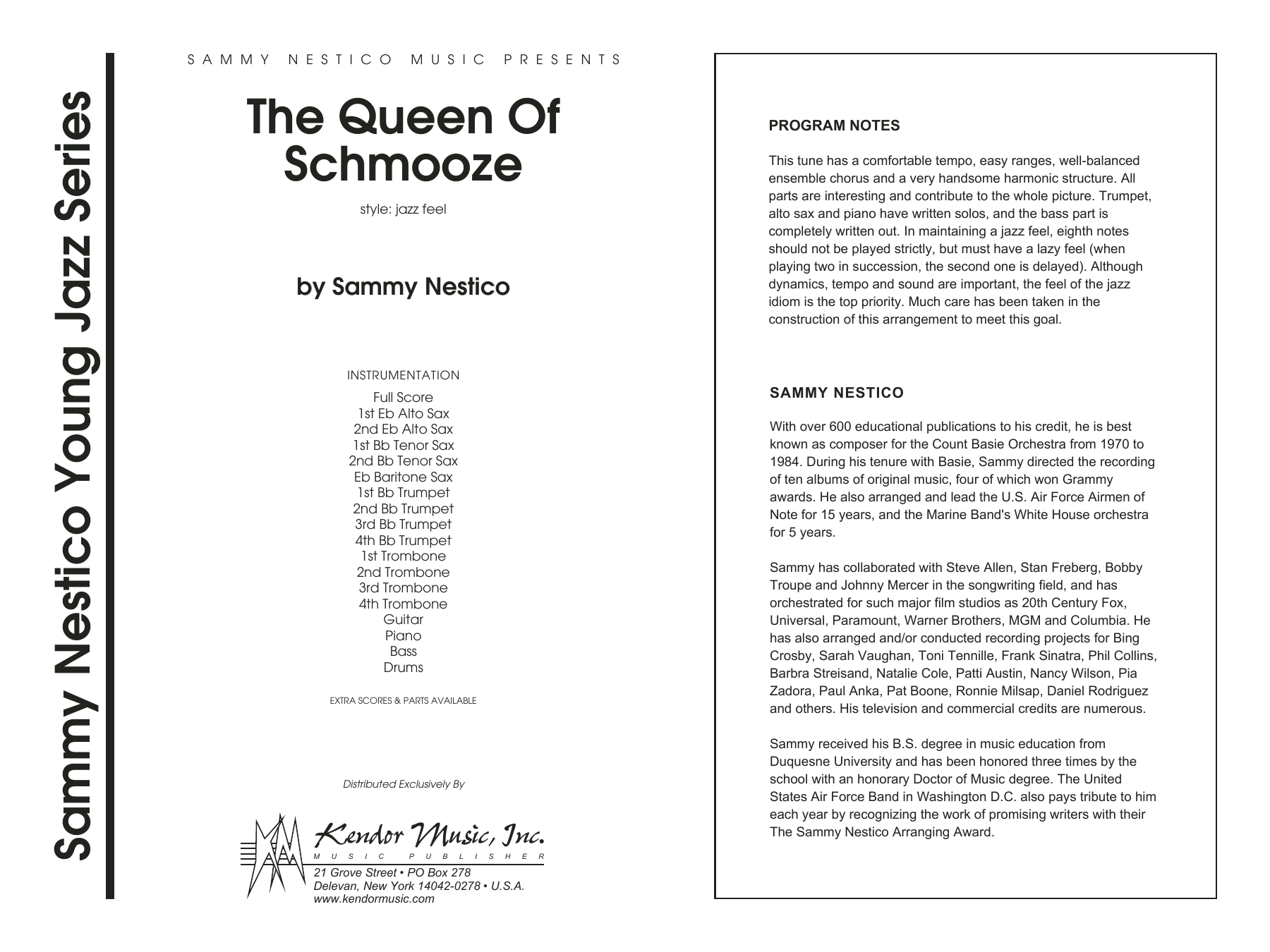 The Queen Of Schmooze (COMPLETE) sheet music for jazz band by Sammy Nestico. Score Image Preview.