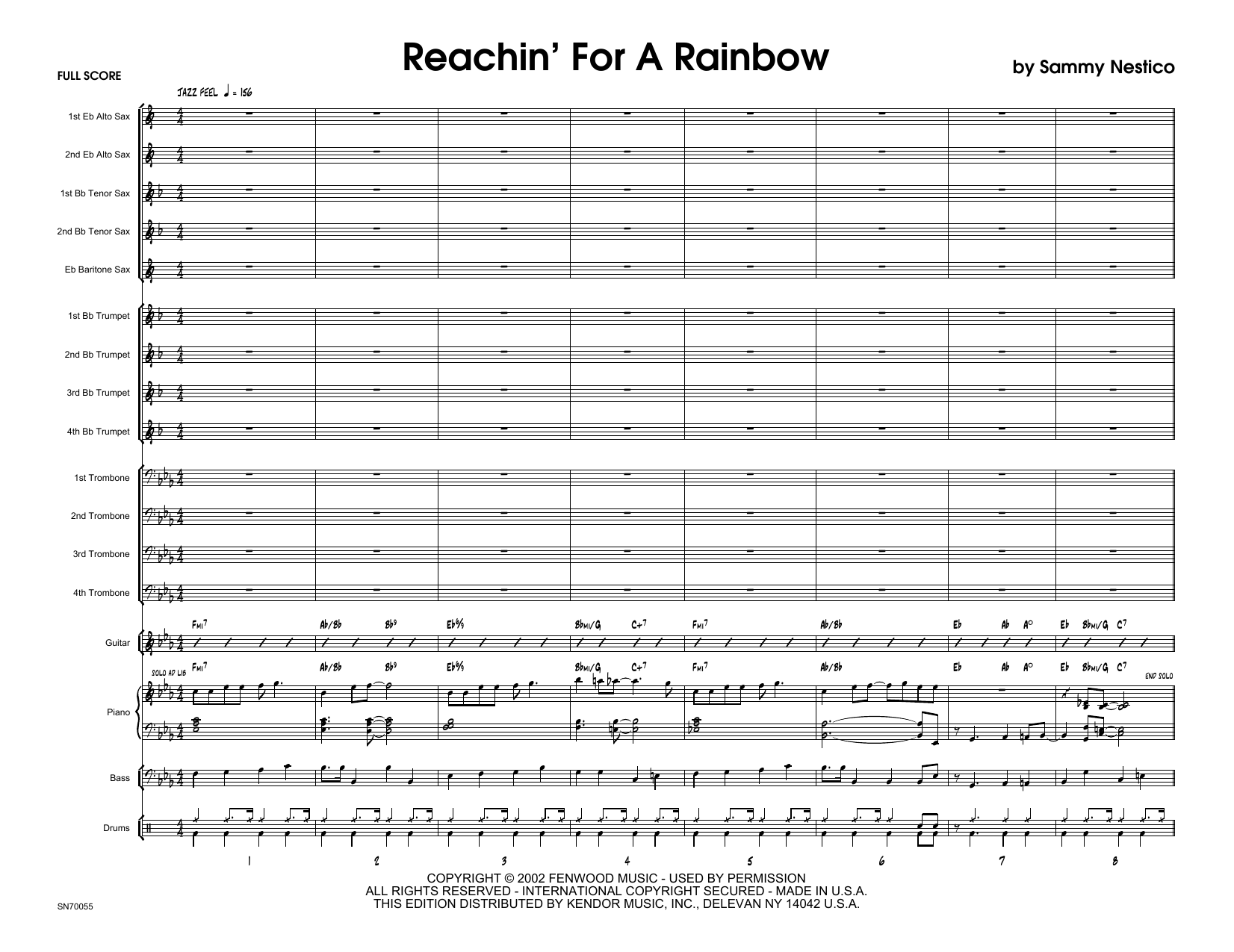 Reachin' For A Rainbow (COMPLETE) sheet music for jazz band by Sammy Nestico. Score Image Preview.