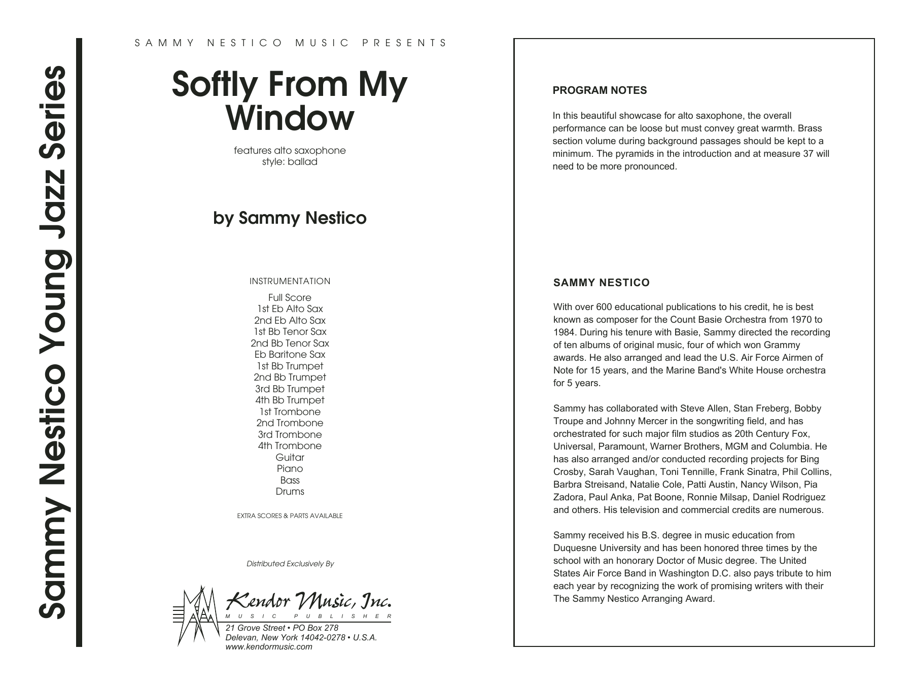 Softly From My Window (COMPLETE) sheet music for jazz band by Sammy Nestico. Score Image Preview.
