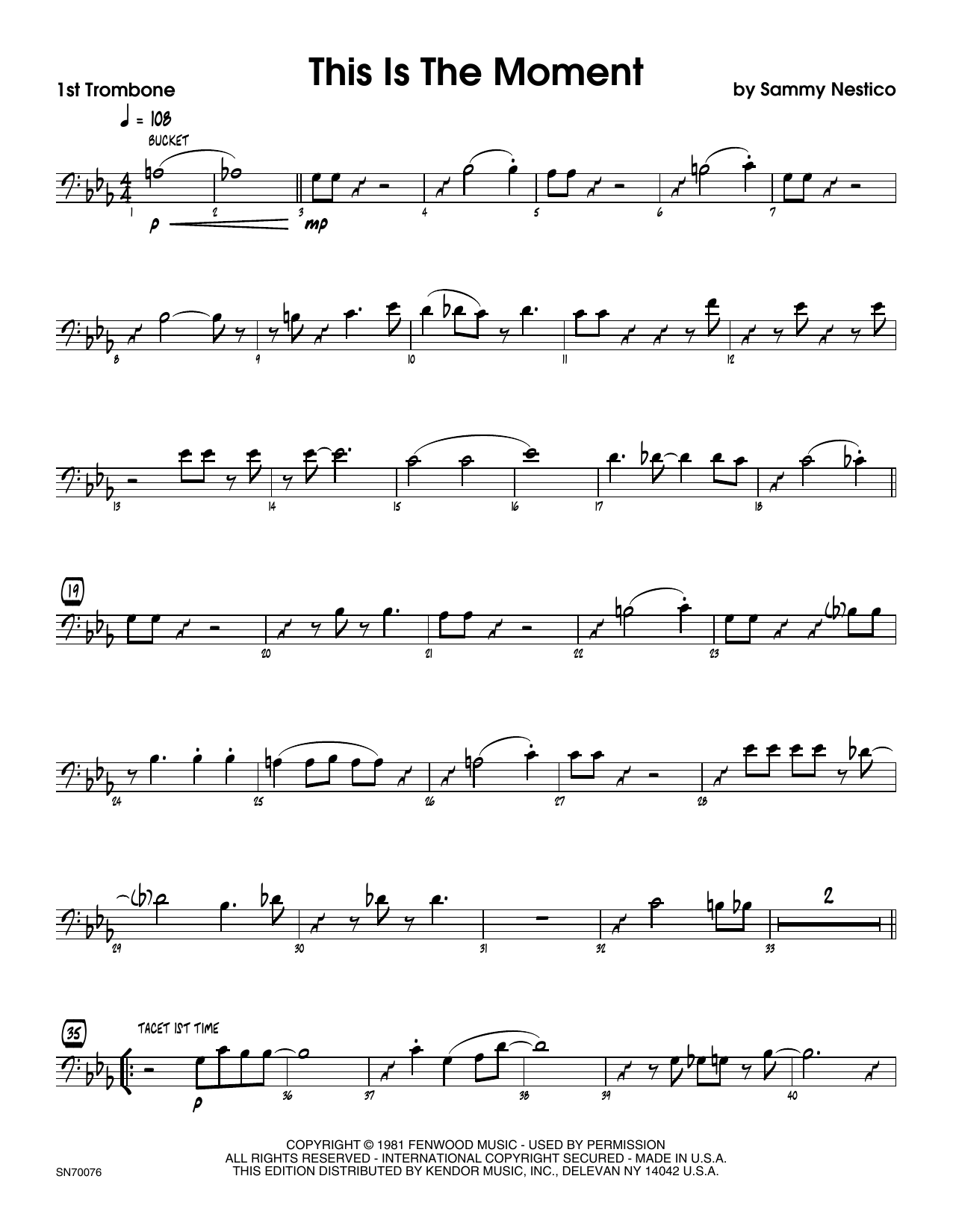 This Is The Moment (Young Version) - 1st Trombone Sheet Music