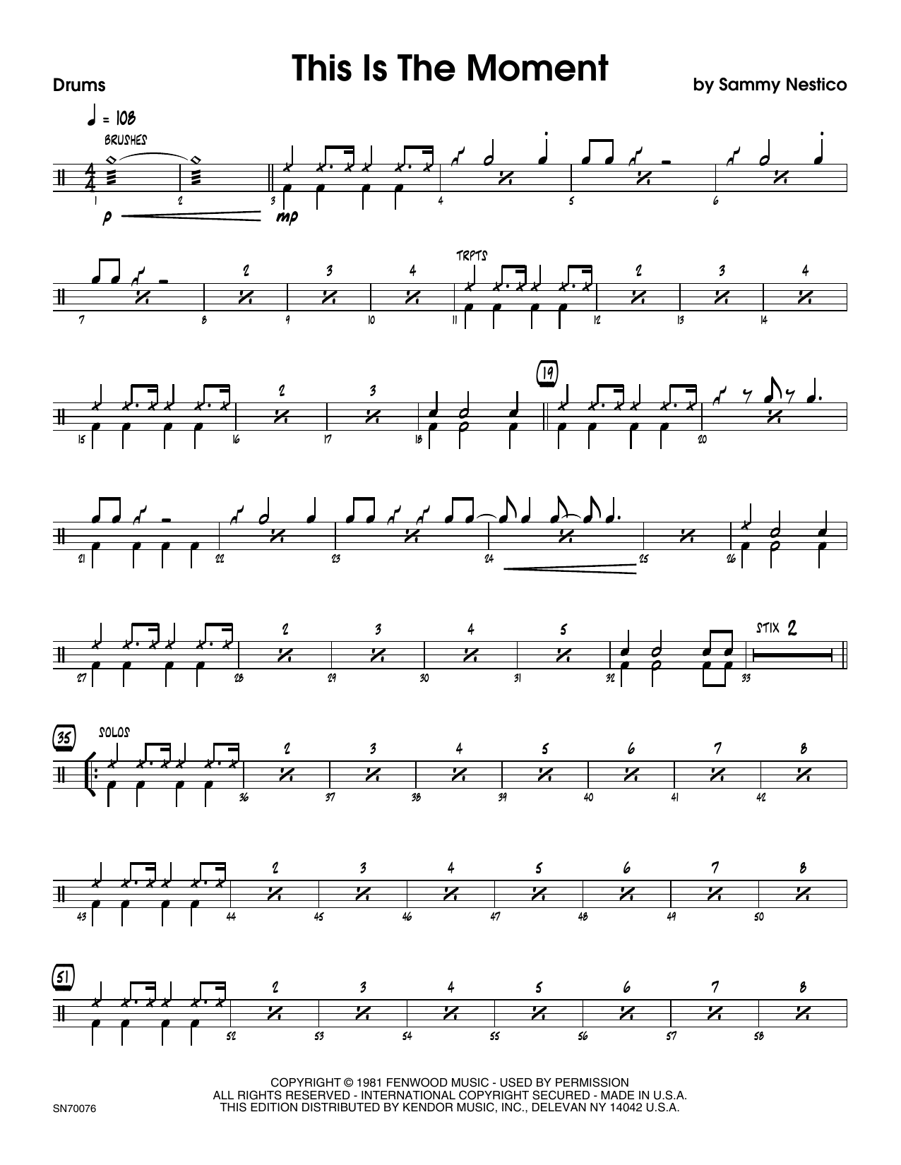 This Is The Moment (Young Version) - Drum Set Sheet Music