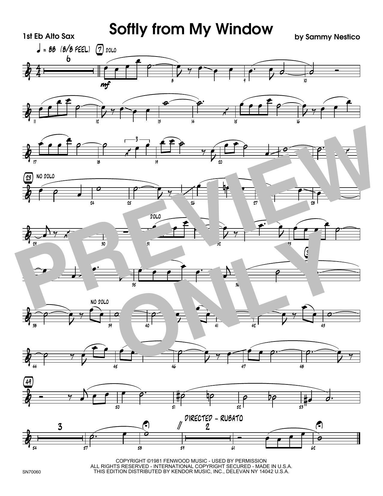 Softly From My Window - 1st Eb Alto Saxophone Sheet Music