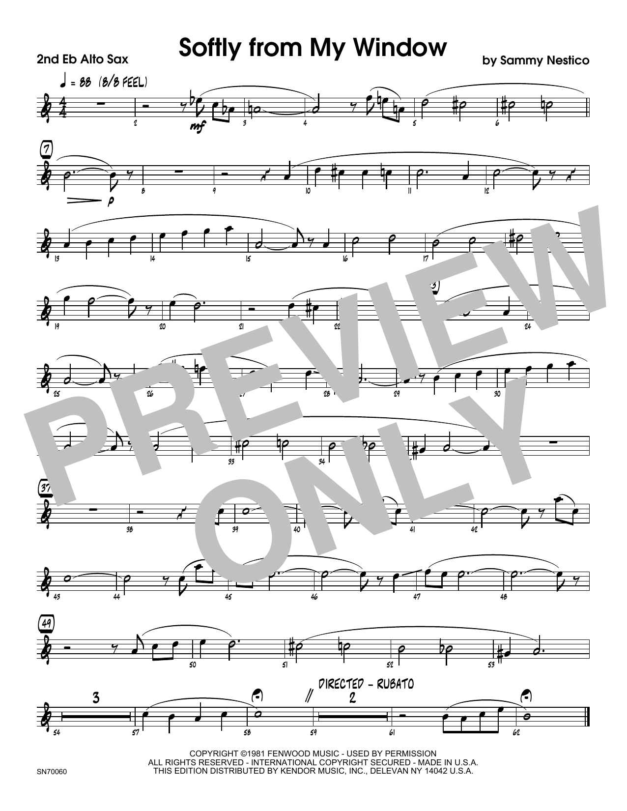 Softly From My Window - 2nd Eb Alto Saxophone Sheet Music