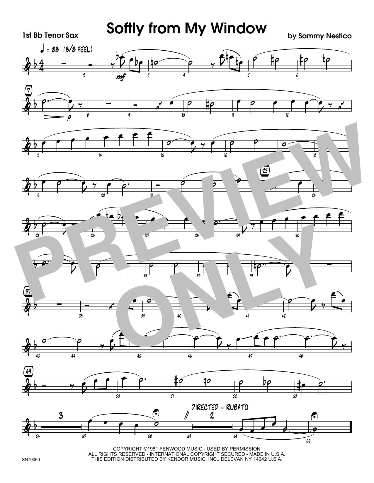 Softly From My Window - 1st Tenor Saxophone Sheet Music
