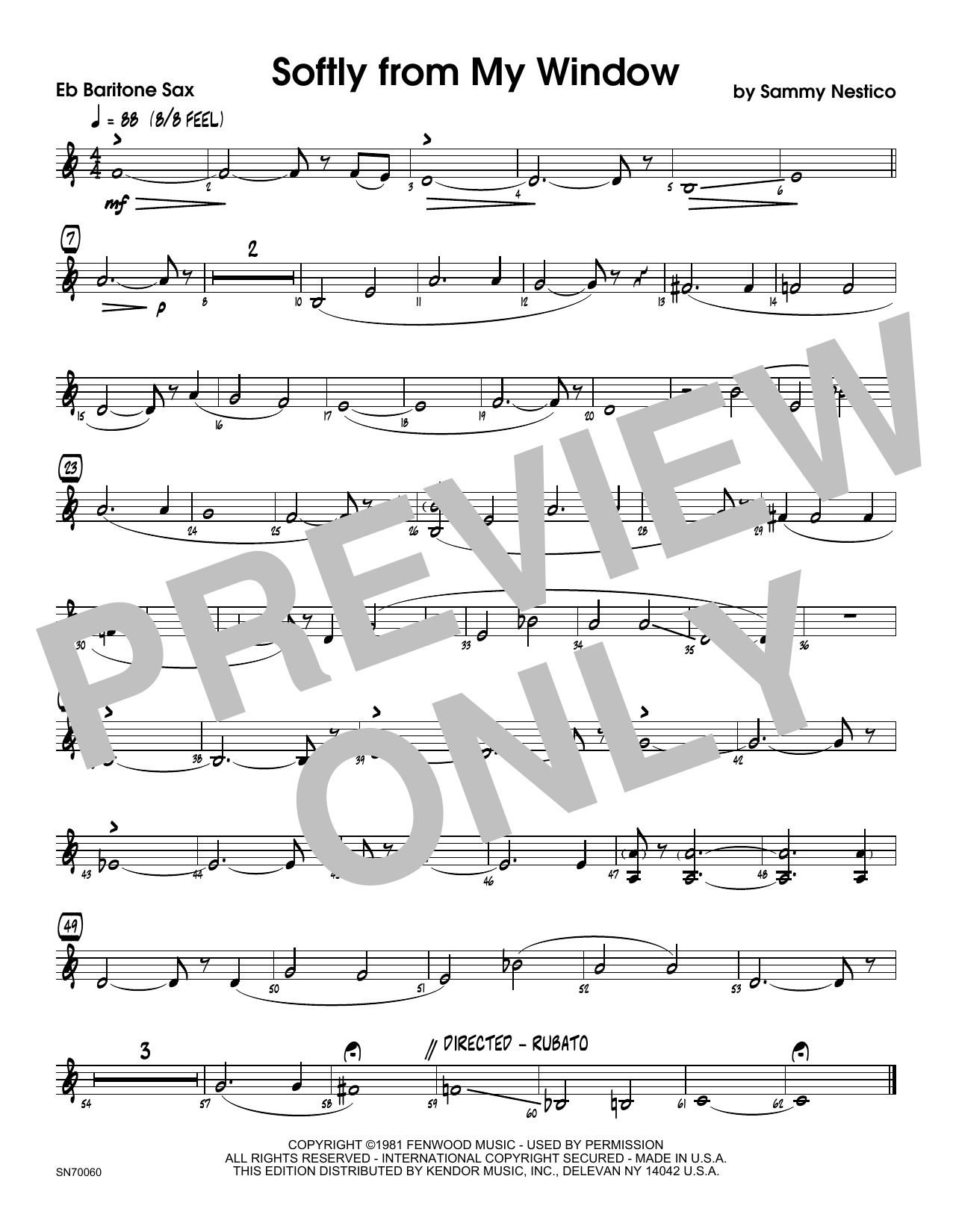 Softly From My Window - Eb Baritone Saxophone Sheet Music