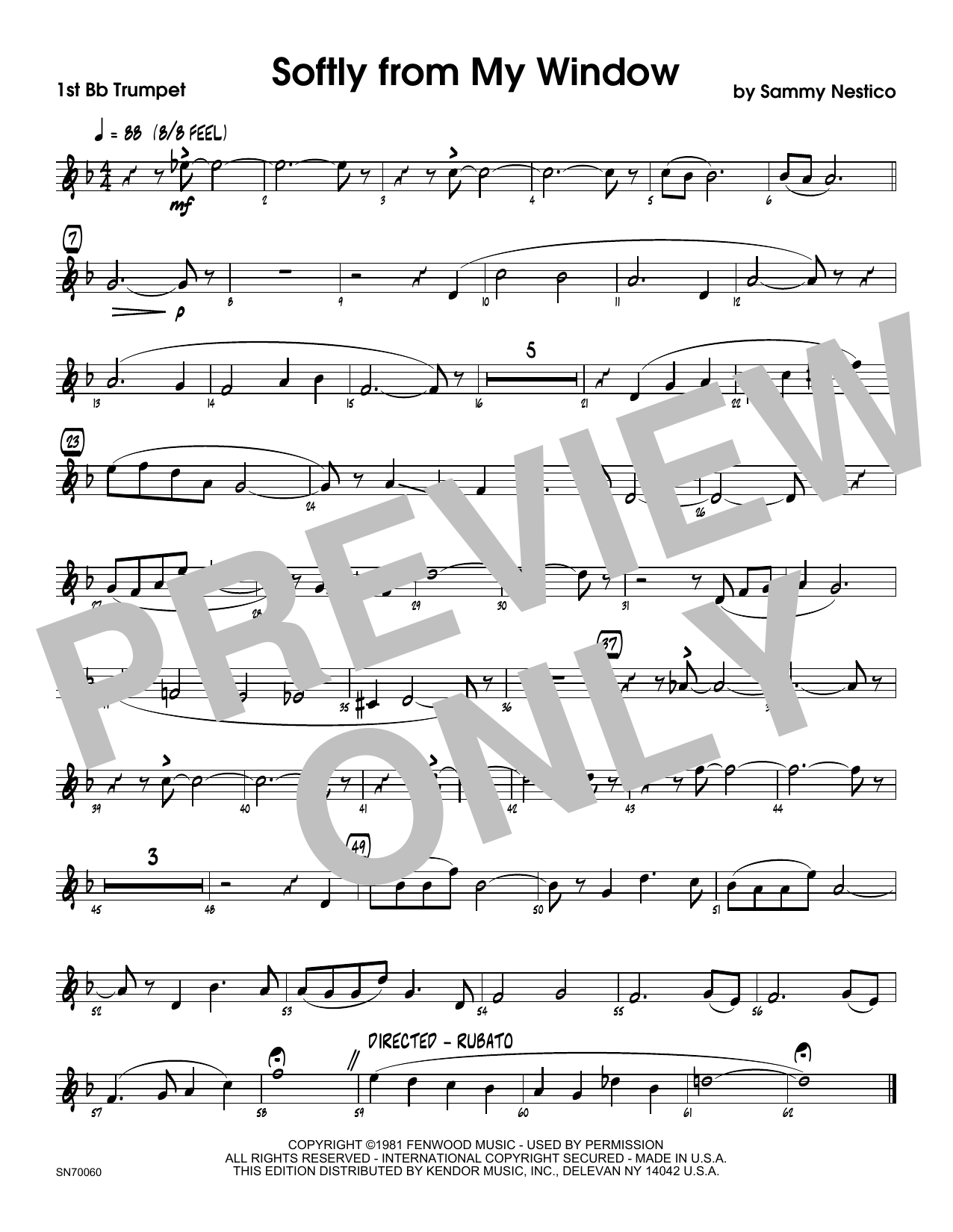 Softly From My Window - 1st Bb Trumpet Sheet Music