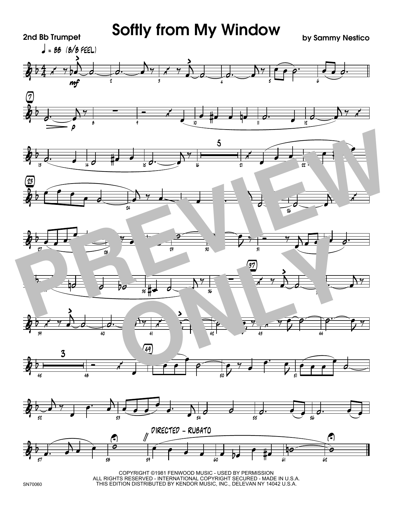 Softly From My Window - 2nd Bb Trumpet Sheet Music