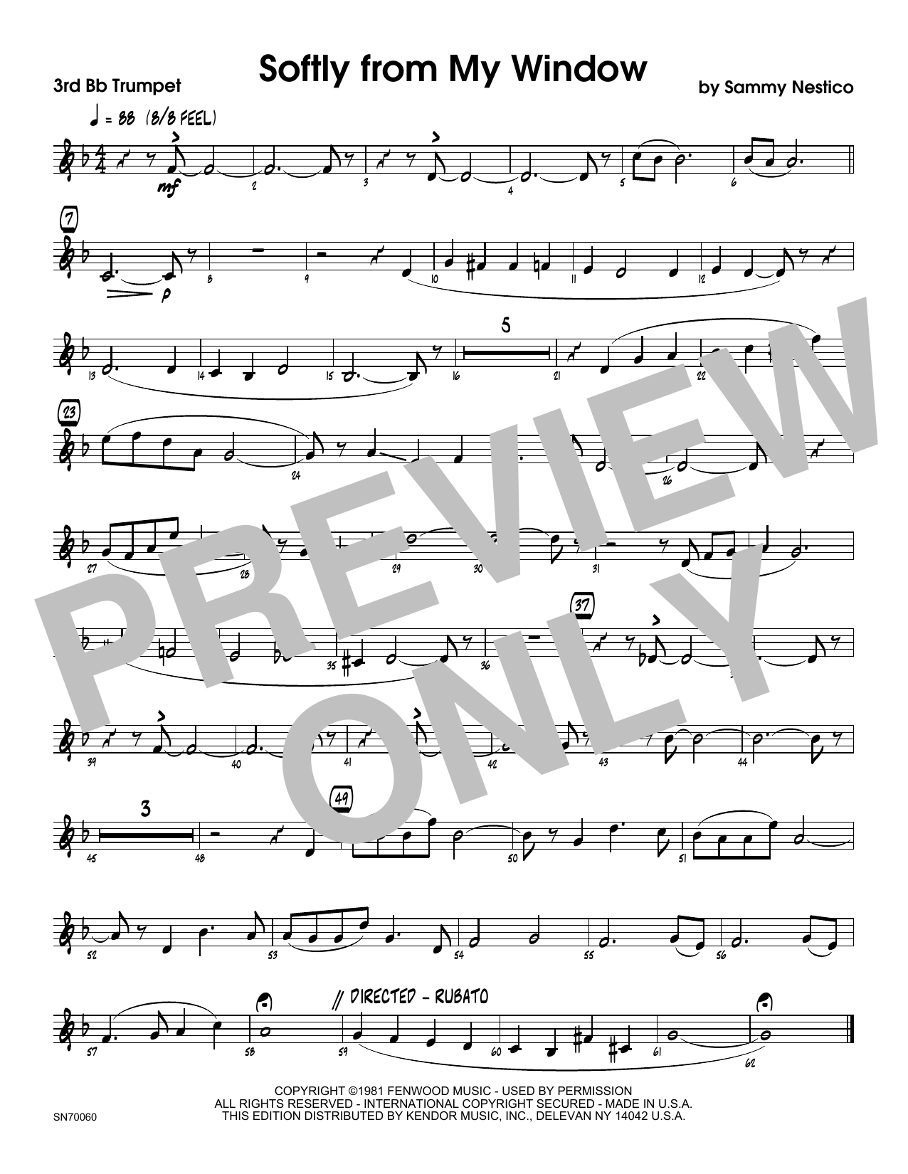 Softly From My Window - 3rd Bb Trumpet Sheet Music