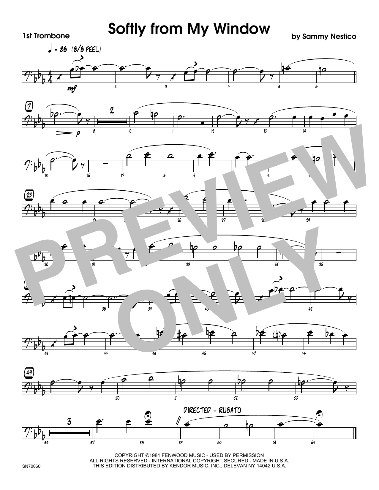Softly From My Window - 1st Trombone Sheet Music