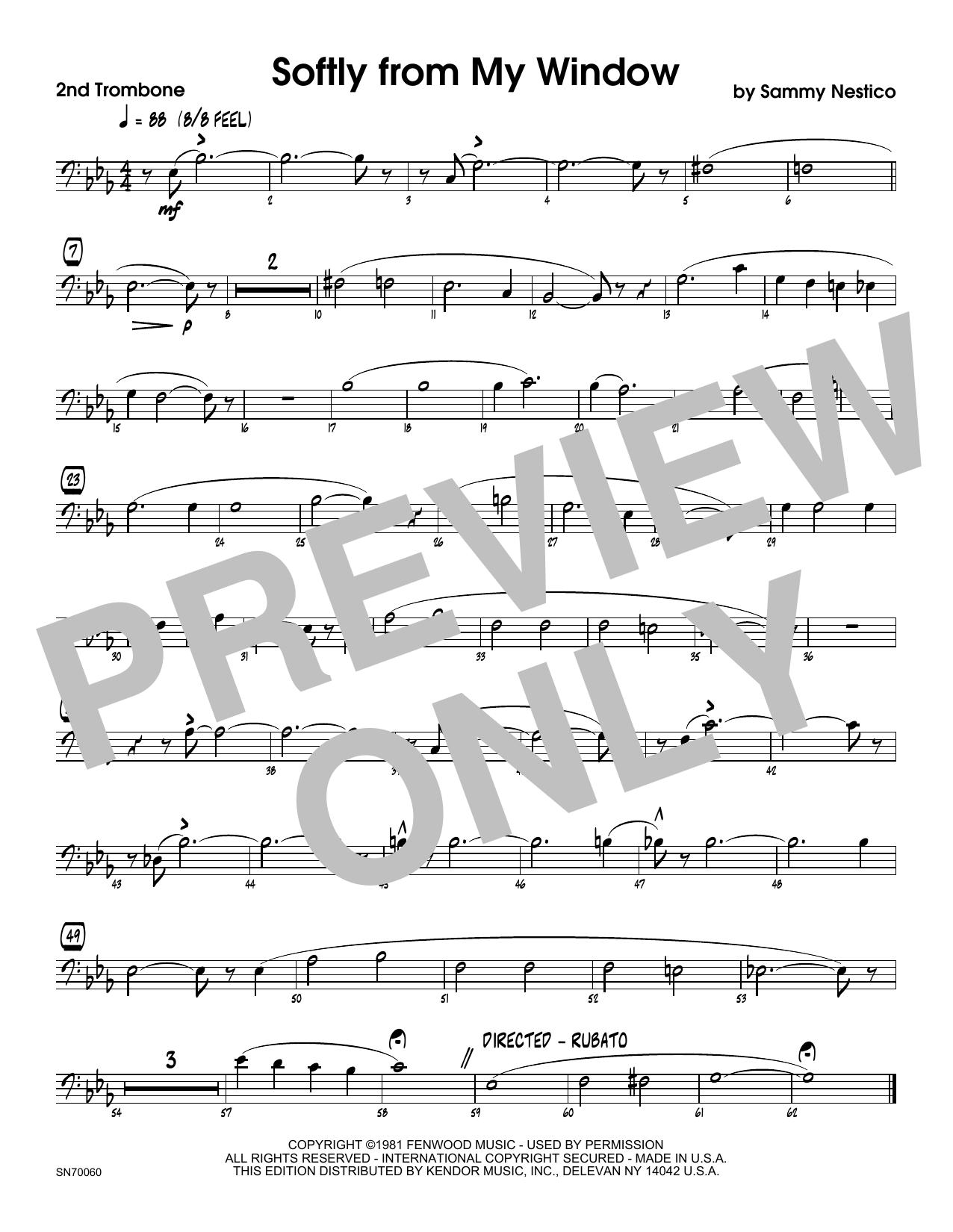 Softly From My Window - 2nd Trombone Sheet Music