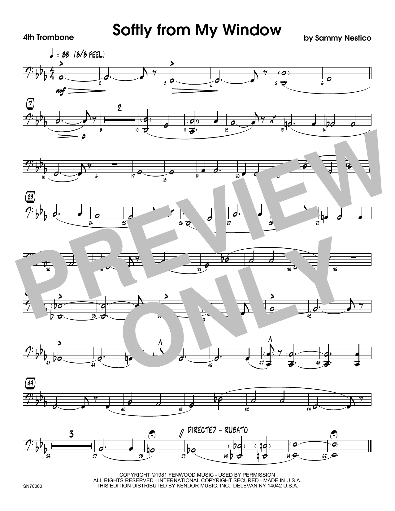 Softly From My Window - 4th Trombone Sheet Music