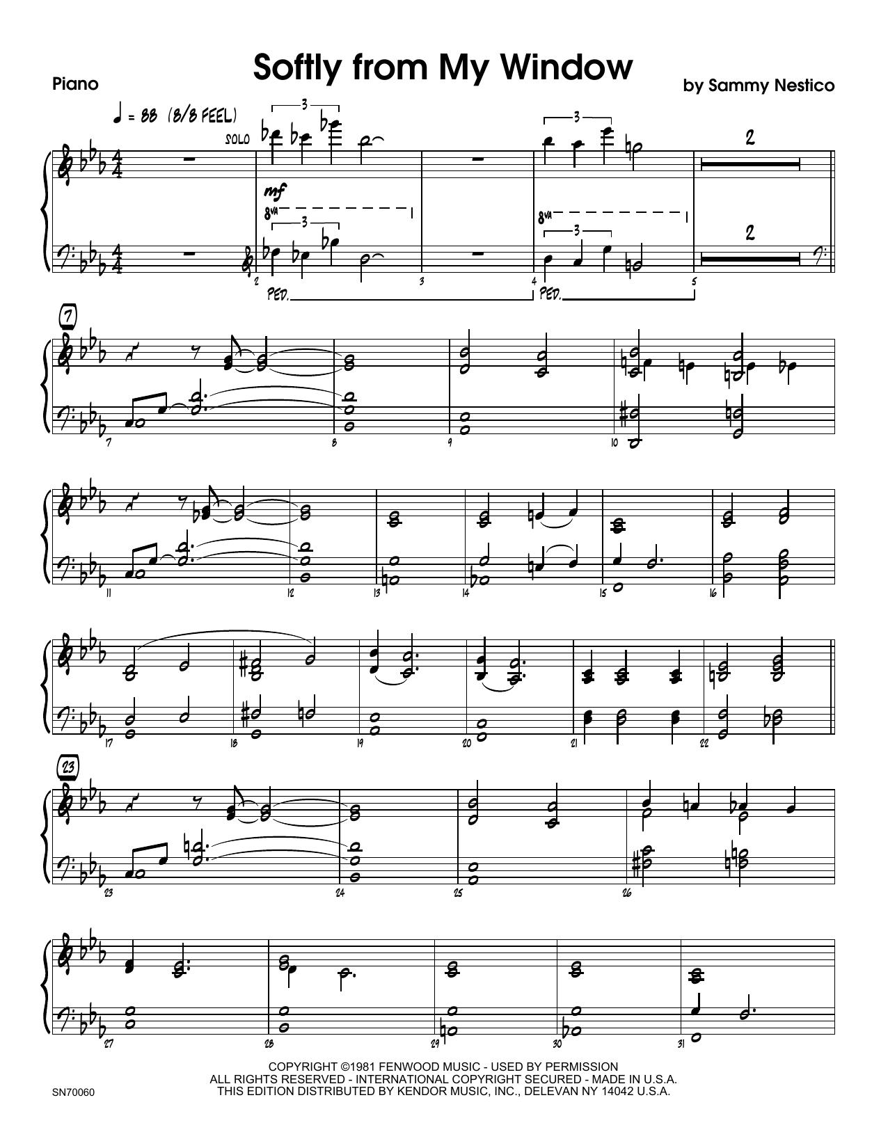 Softly From My Window - Piano Sheet Music