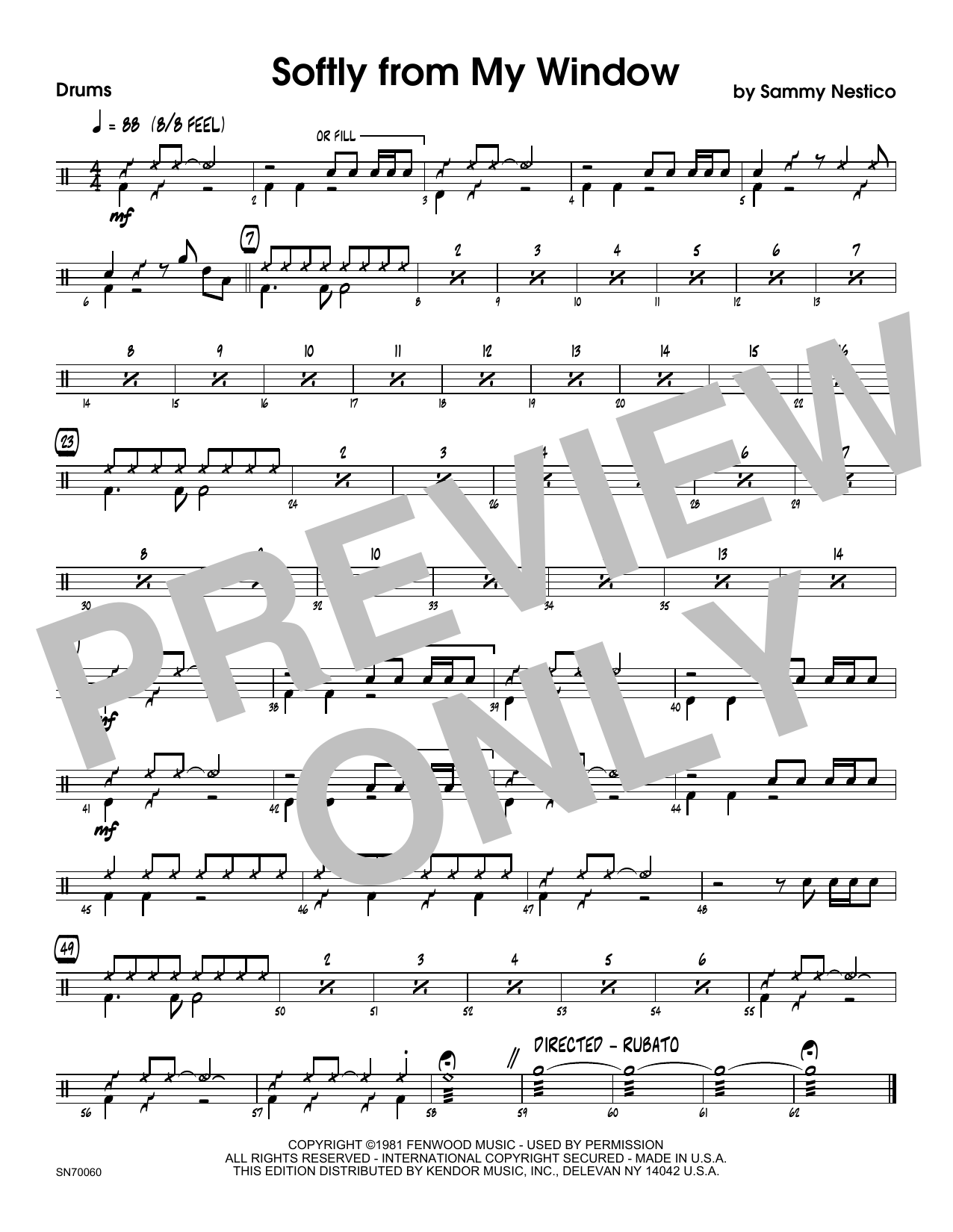 Softly From My Window - Drum Set Sheet Music