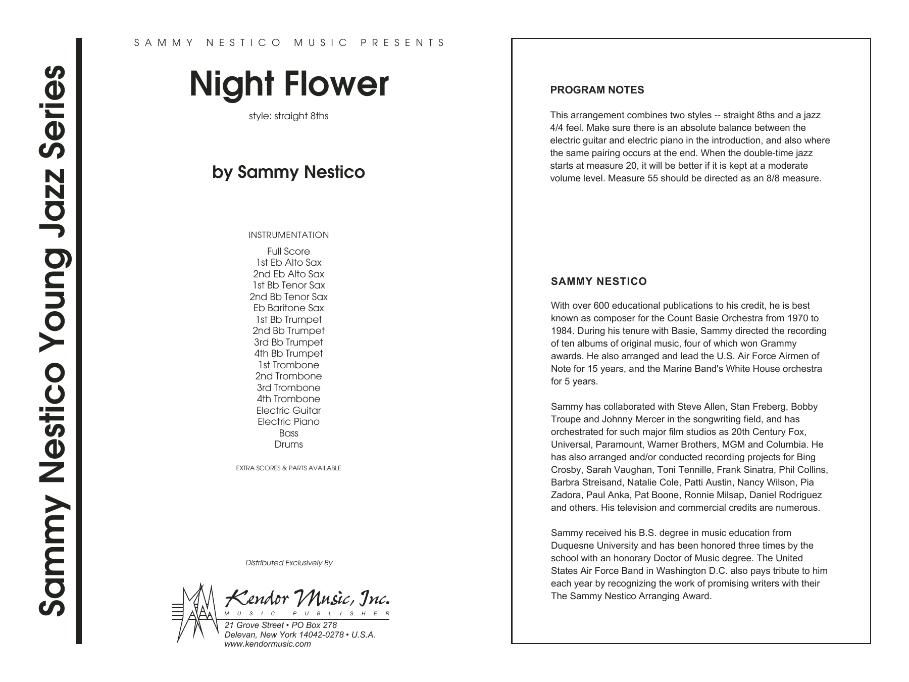 Night Flower (COMPLETE) sheet music for jazz band by Sammy Nestico. Score Image Preview.
