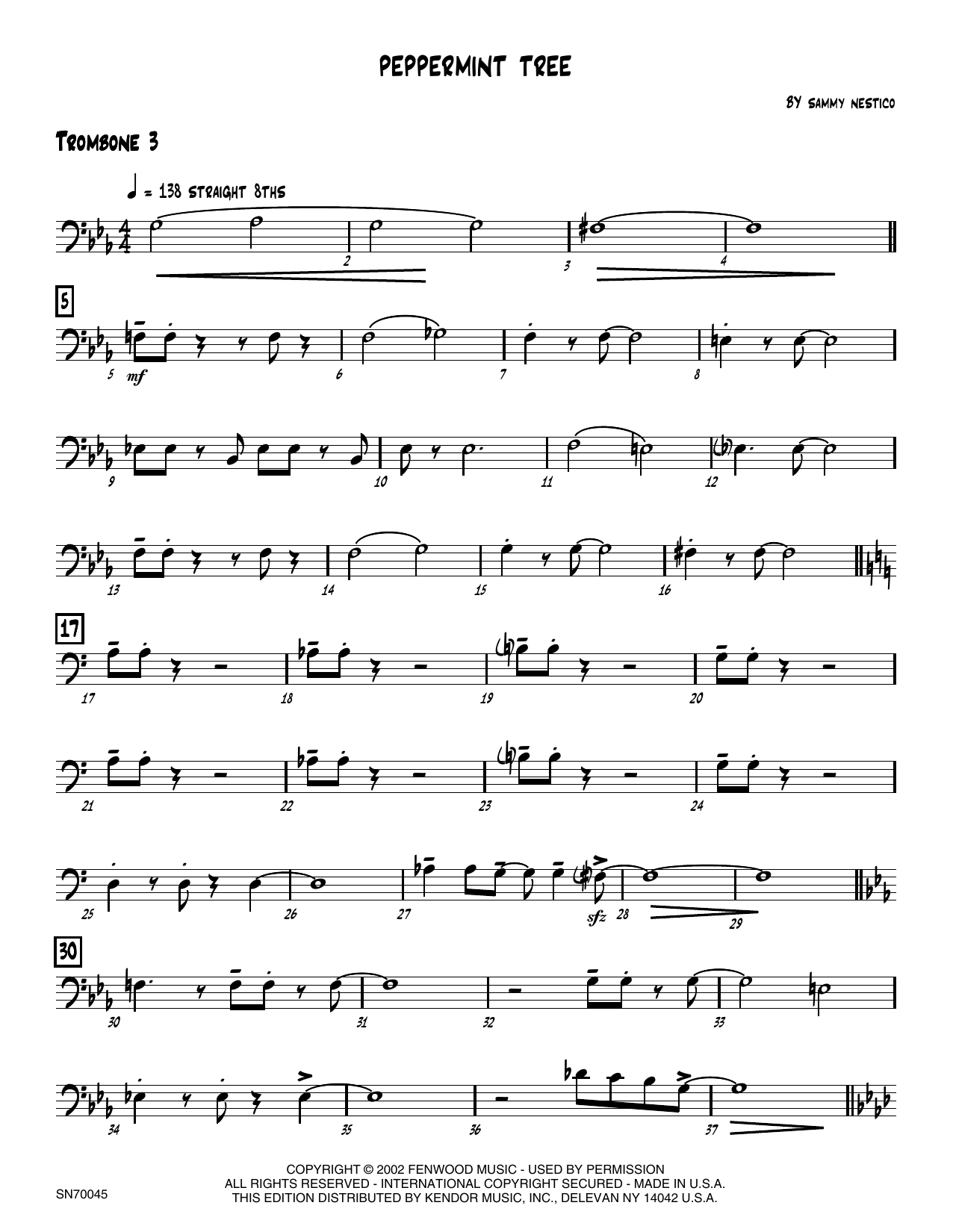 Peppermint Tree - 3rd Trombone Sheet Music