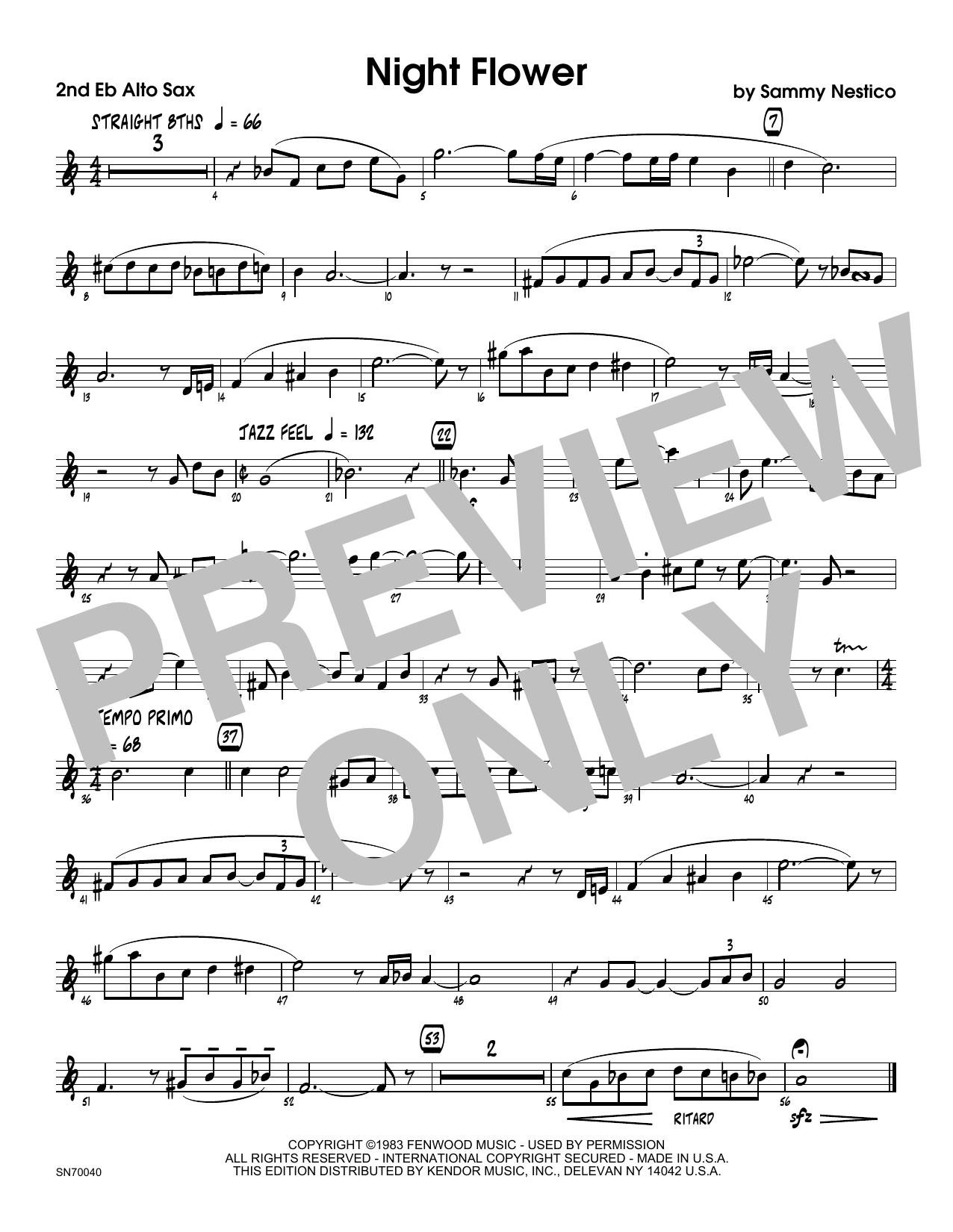 Night Flower - 2nd Eb Alto Saxophone Sheet Music