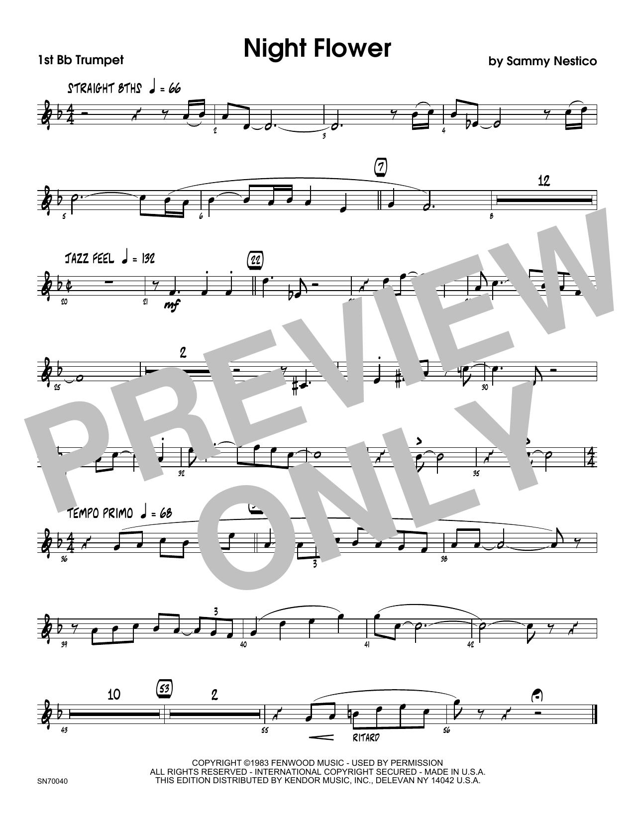 Night Flower - 1st Bb Trumpet Sheet Music