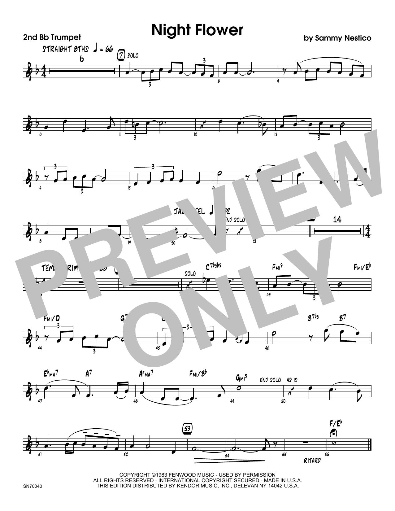 Night Flower - 2nd Bb Trumpet Sheet Music