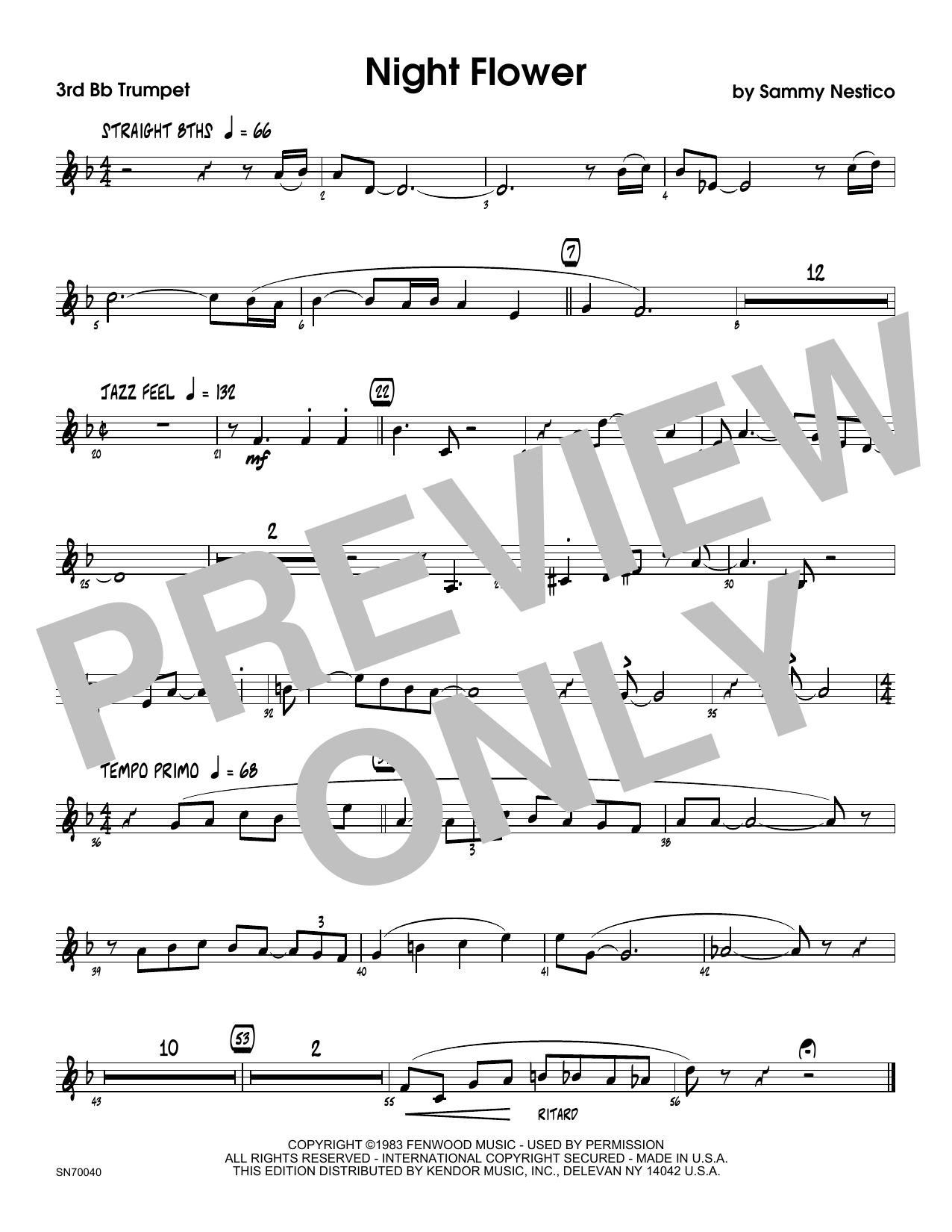 Night Flower - 3rd Bb Trumpet Sheet Music