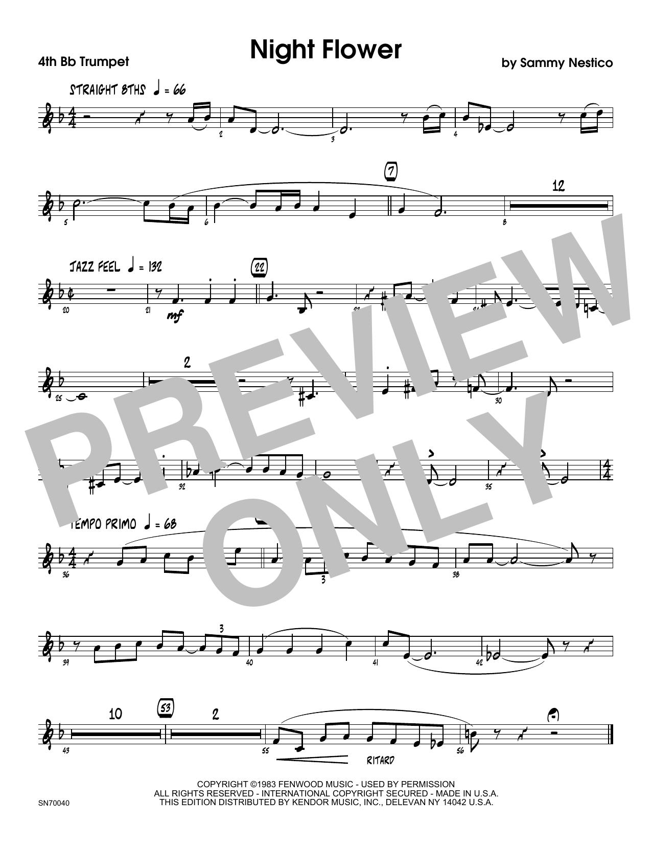 Night Flower - 4th Bb Trumpet Sheet Music