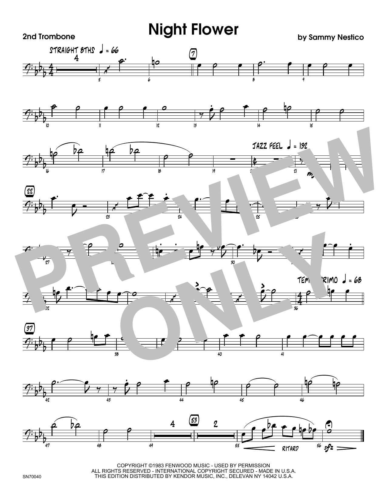 Night Flower - 2nd Trombone Sheet Music