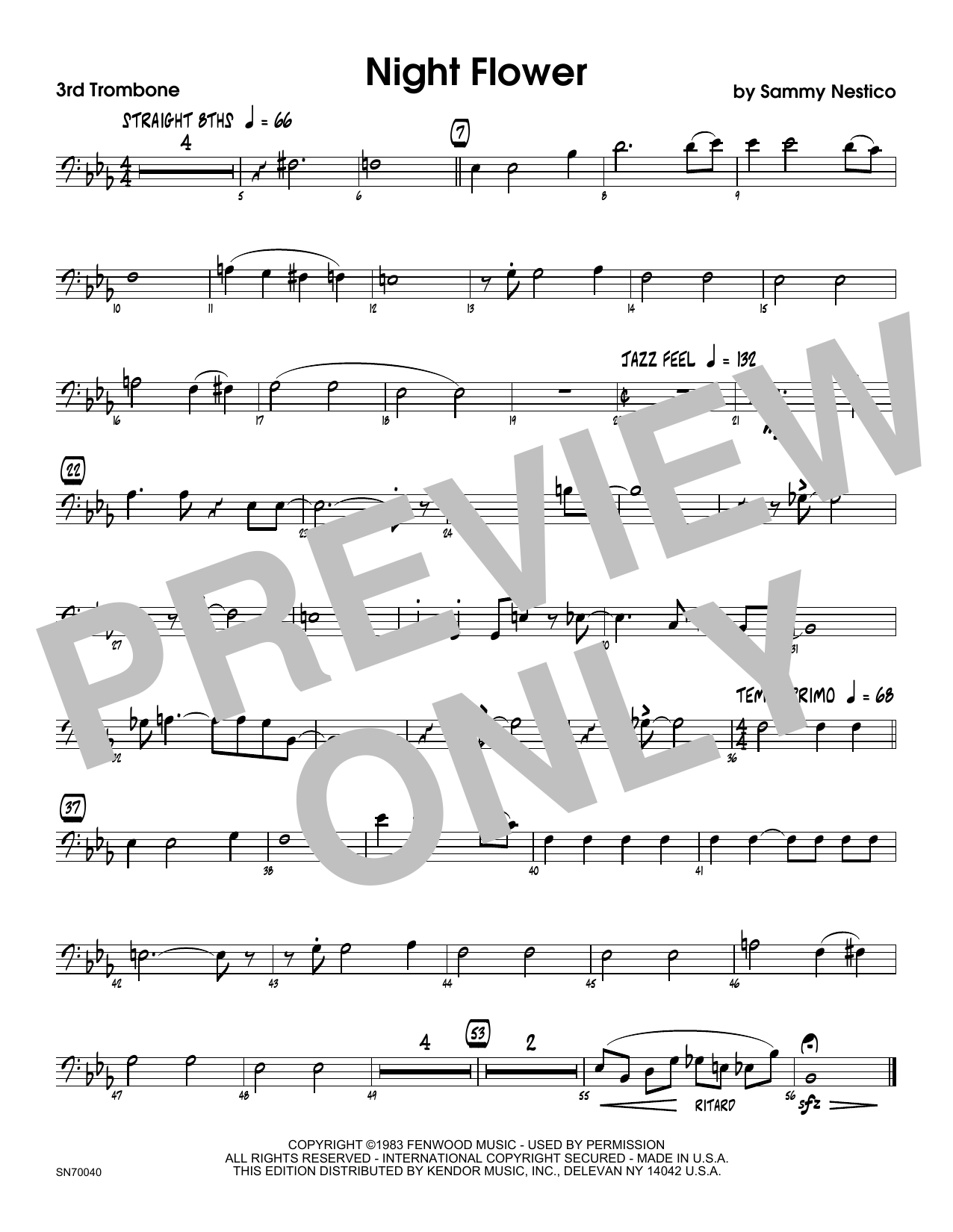 Night Flower - 3rd Trombone Sheet Music
