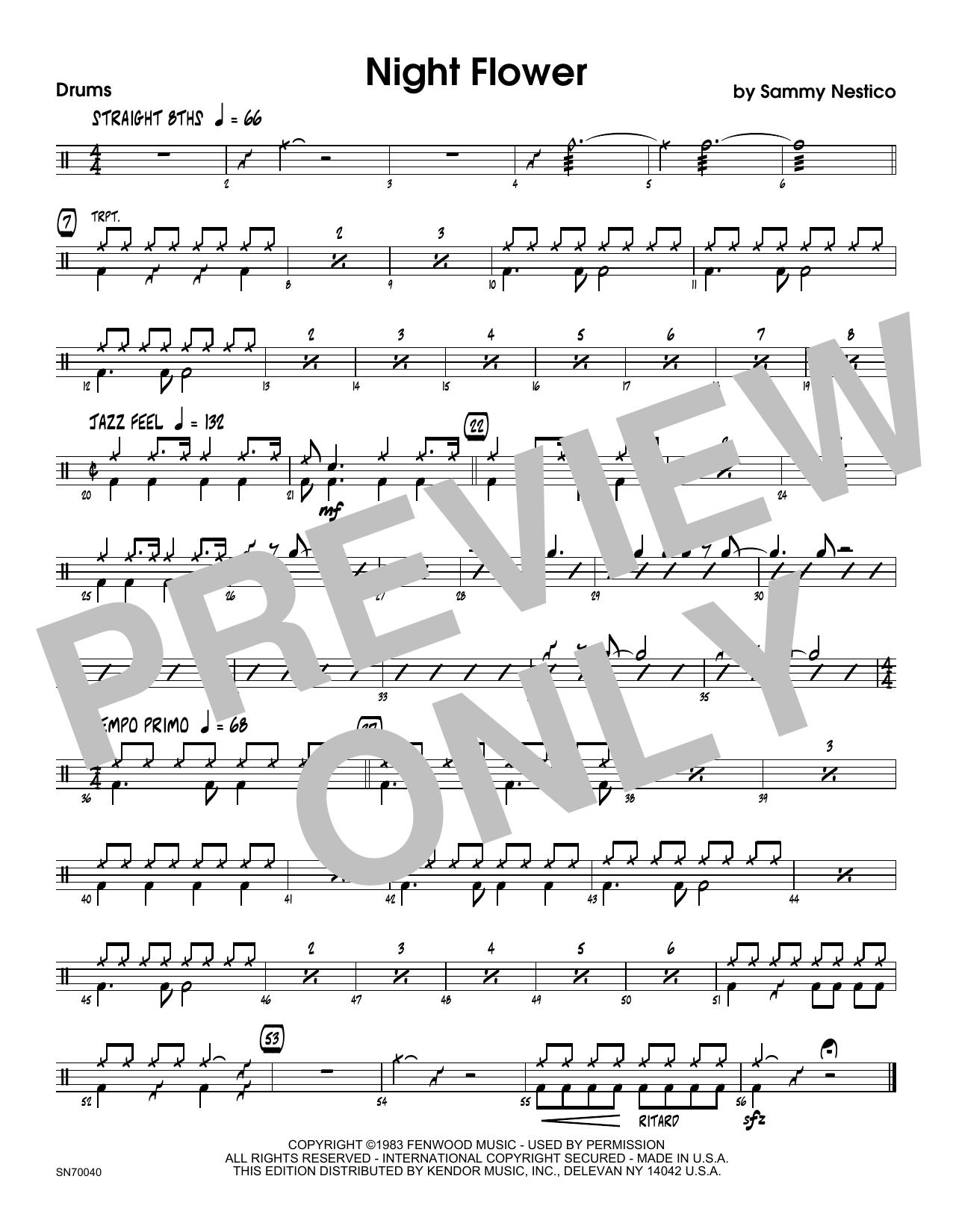 Night Flower - Drum Set Sheet Music