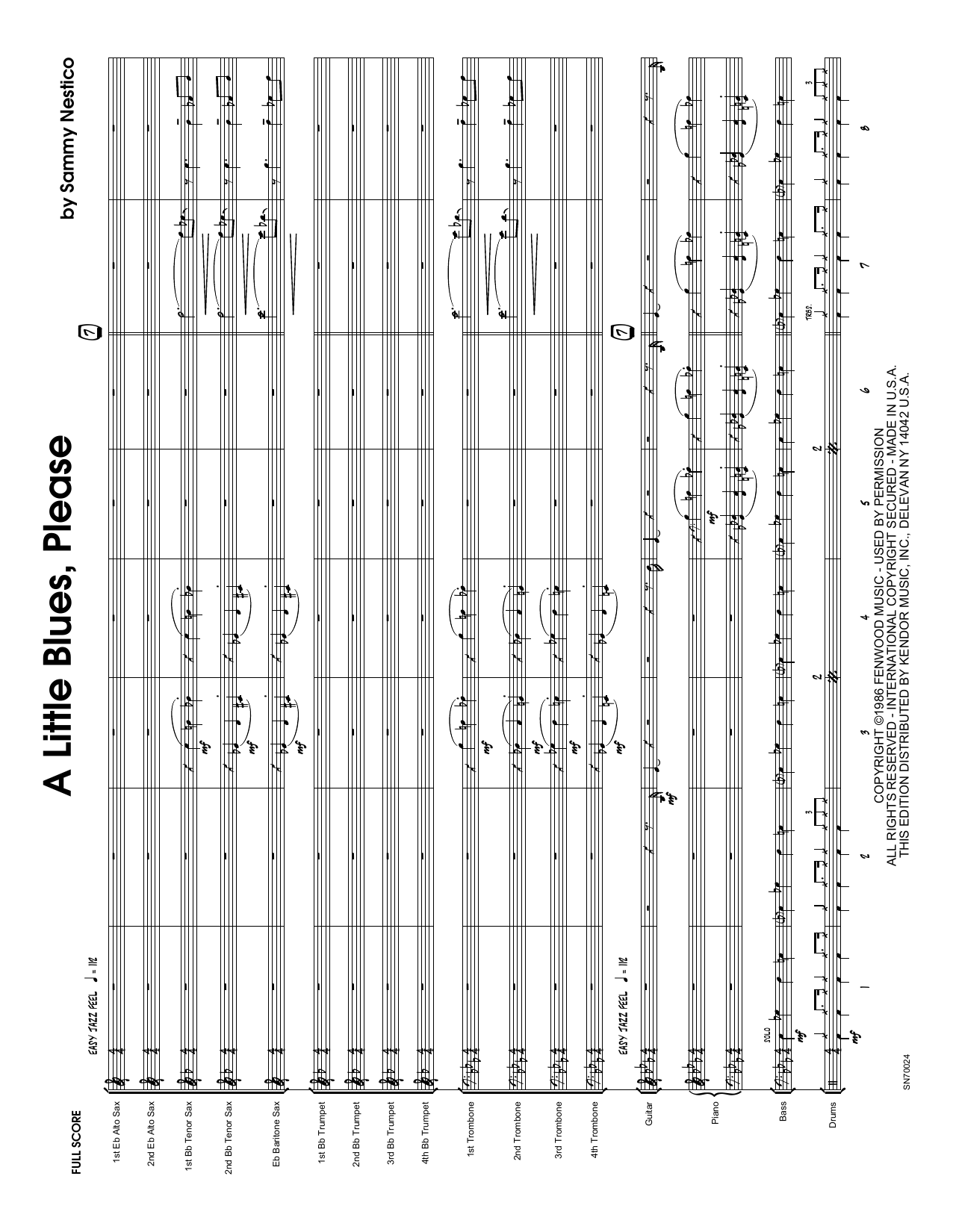 A Little Blues, Please (COMPLETE) sheet music for jazz band by Sammy Nestico. Score Image Preview.