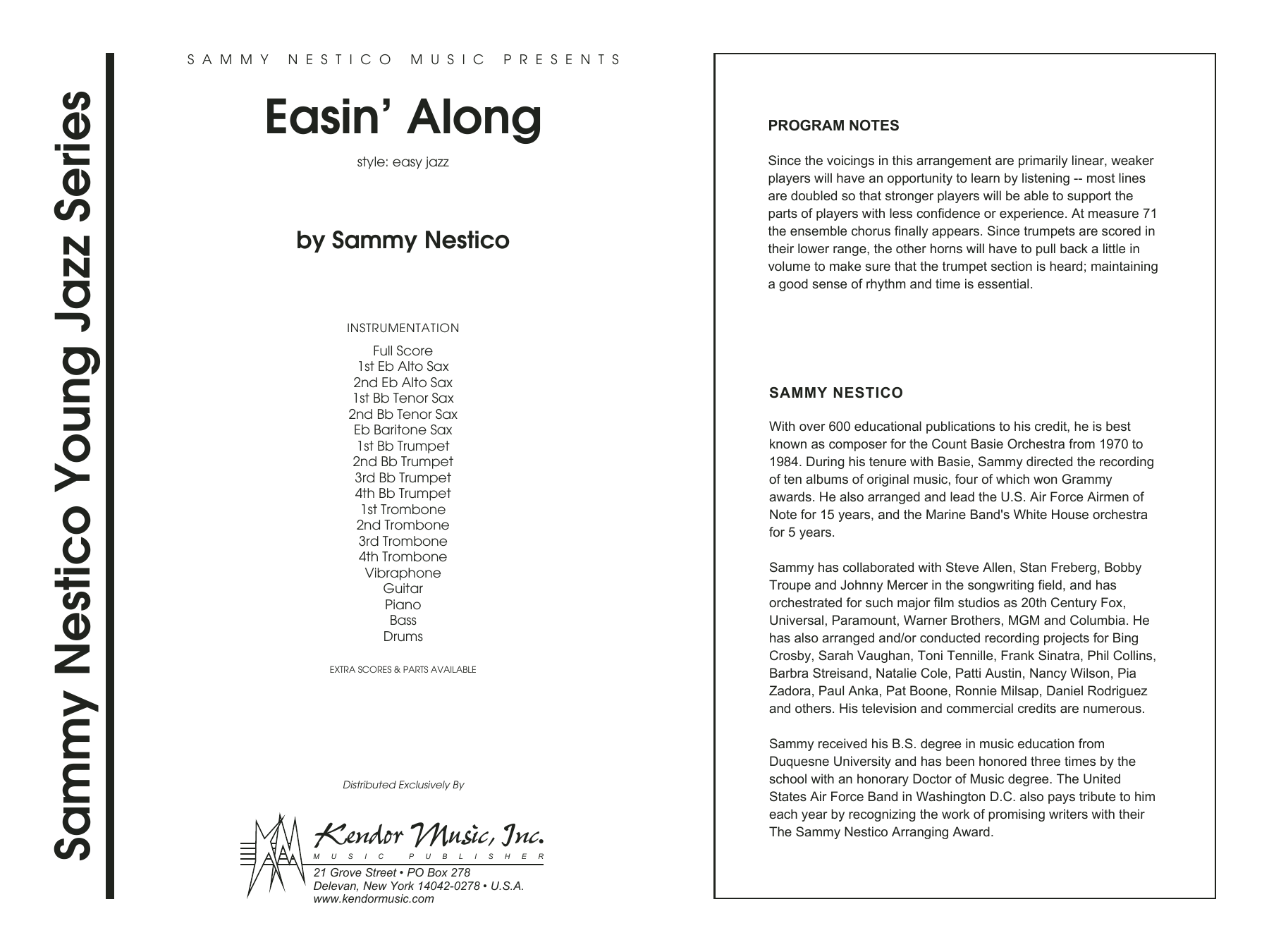 Easin' Along (COMPLETE) sheet music for jazz band by Sammy Nestico. Score Image Preview.