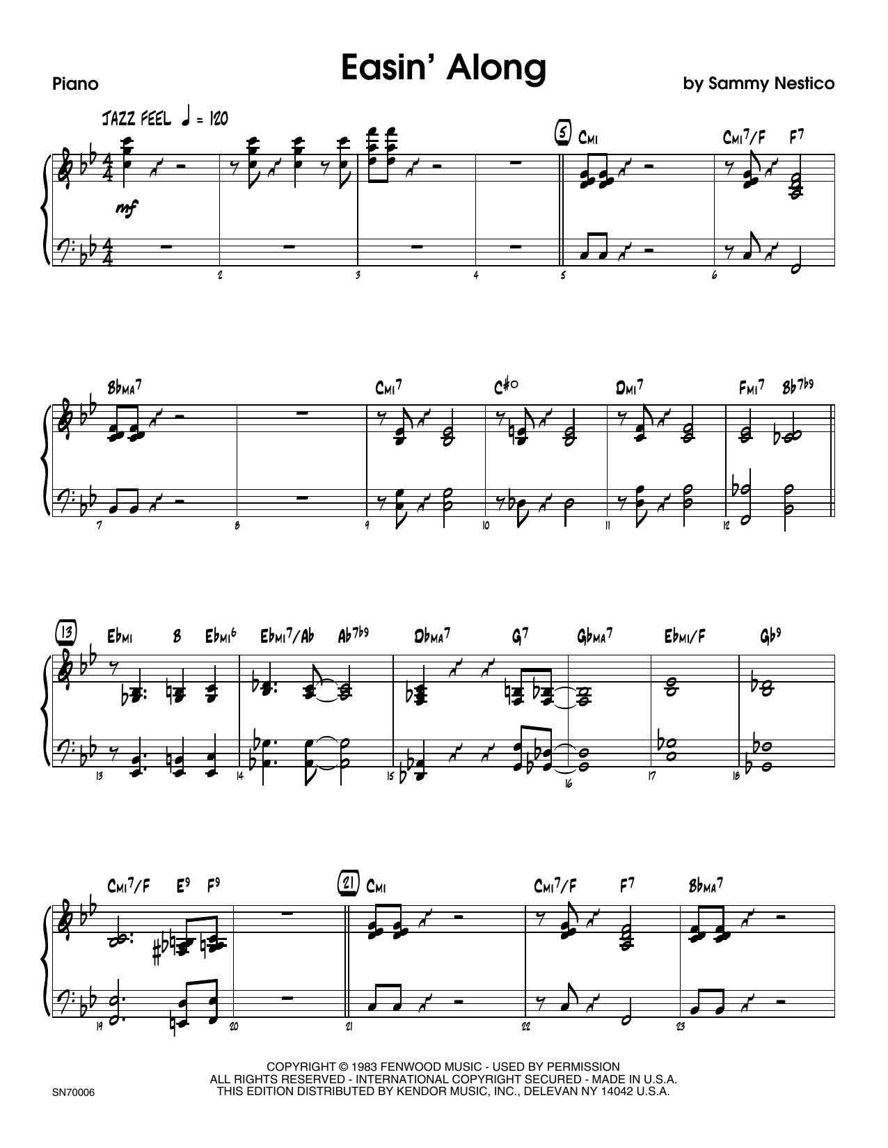 Easin' Along - Piano Sheet Music