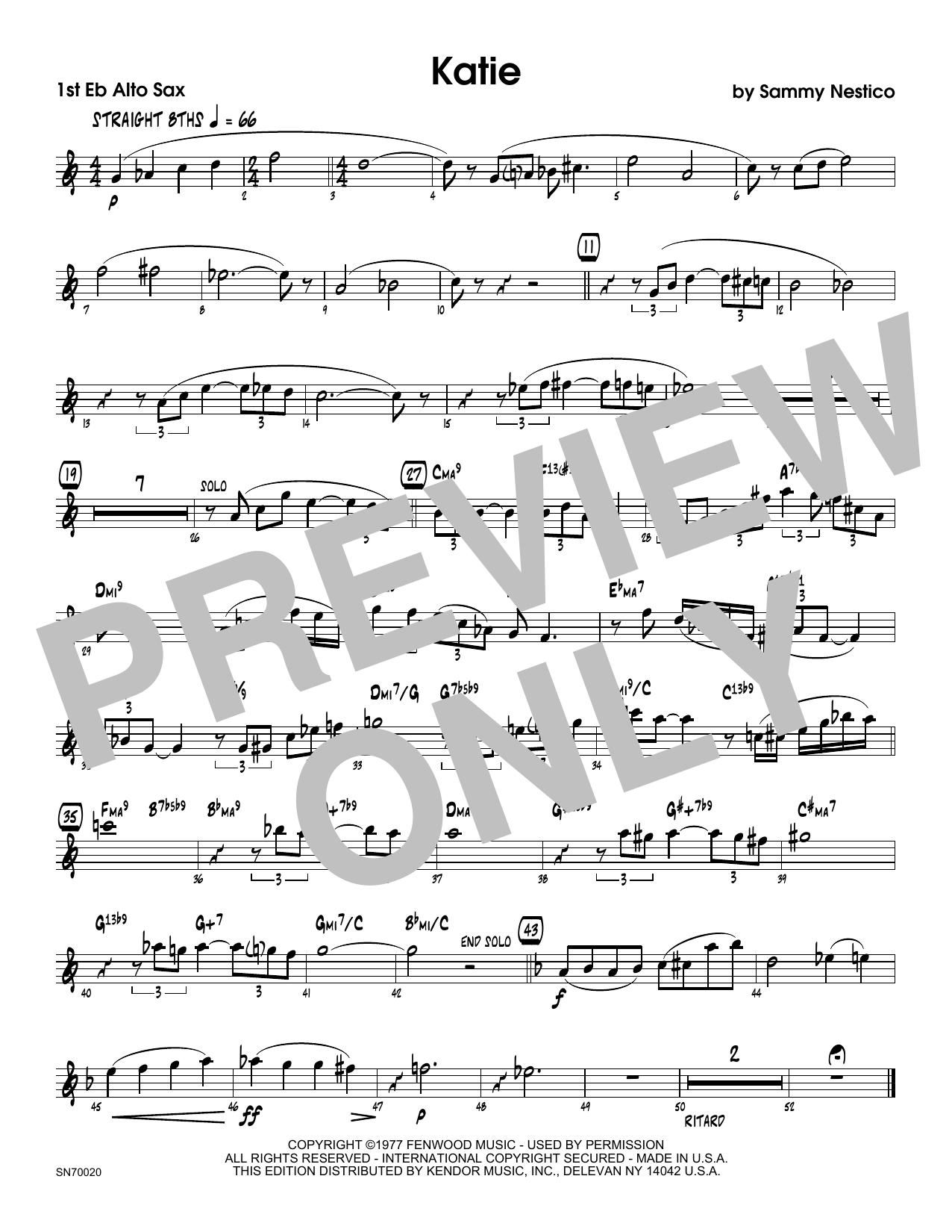 Katie - 1st Eb Alto Saxophone Sheet Music
