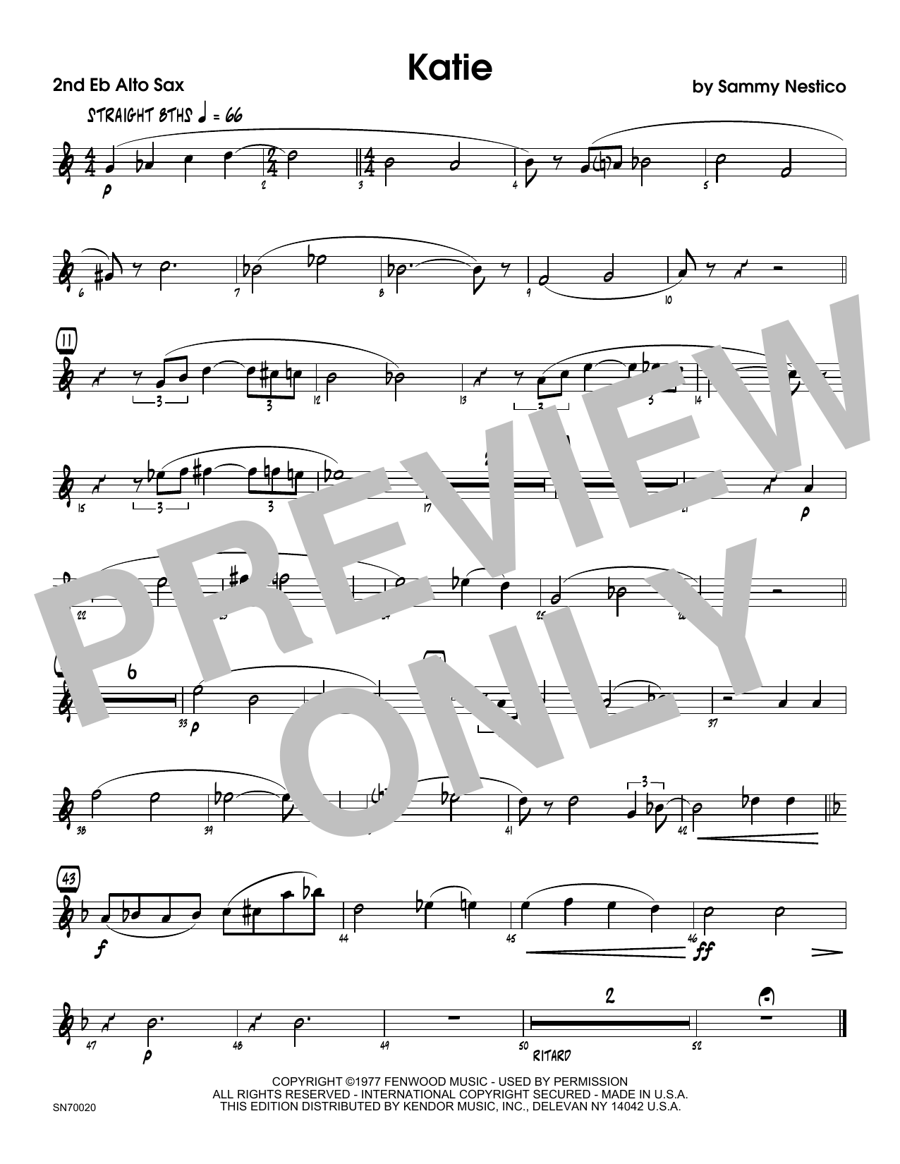 Katie - 2nd Eb Alto Saxophone Sheet Music